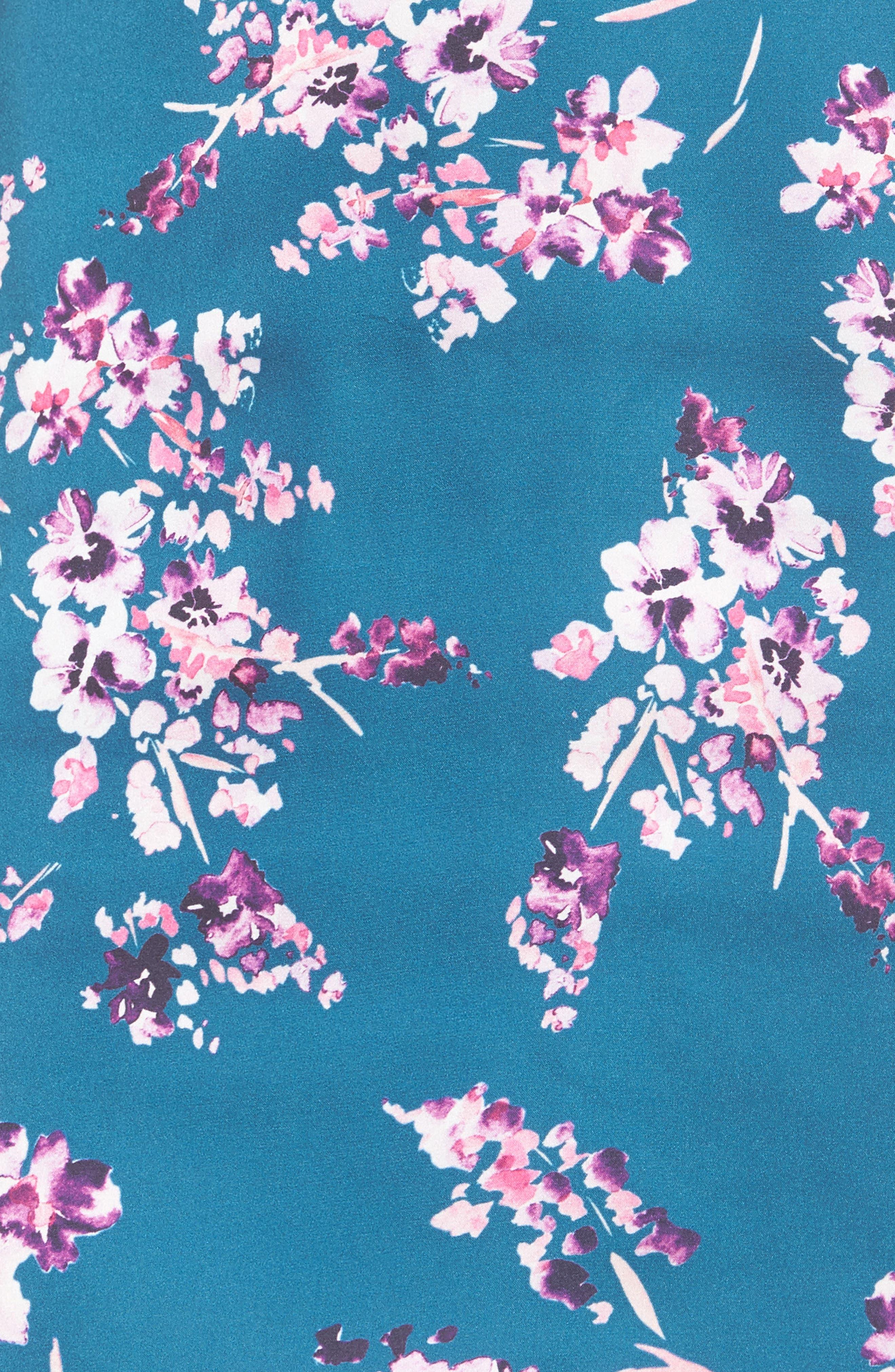 Clover Cold Shoulder Sheath Dress,                             Alternate thumbnail 5, color,                             Moroccan Blossom