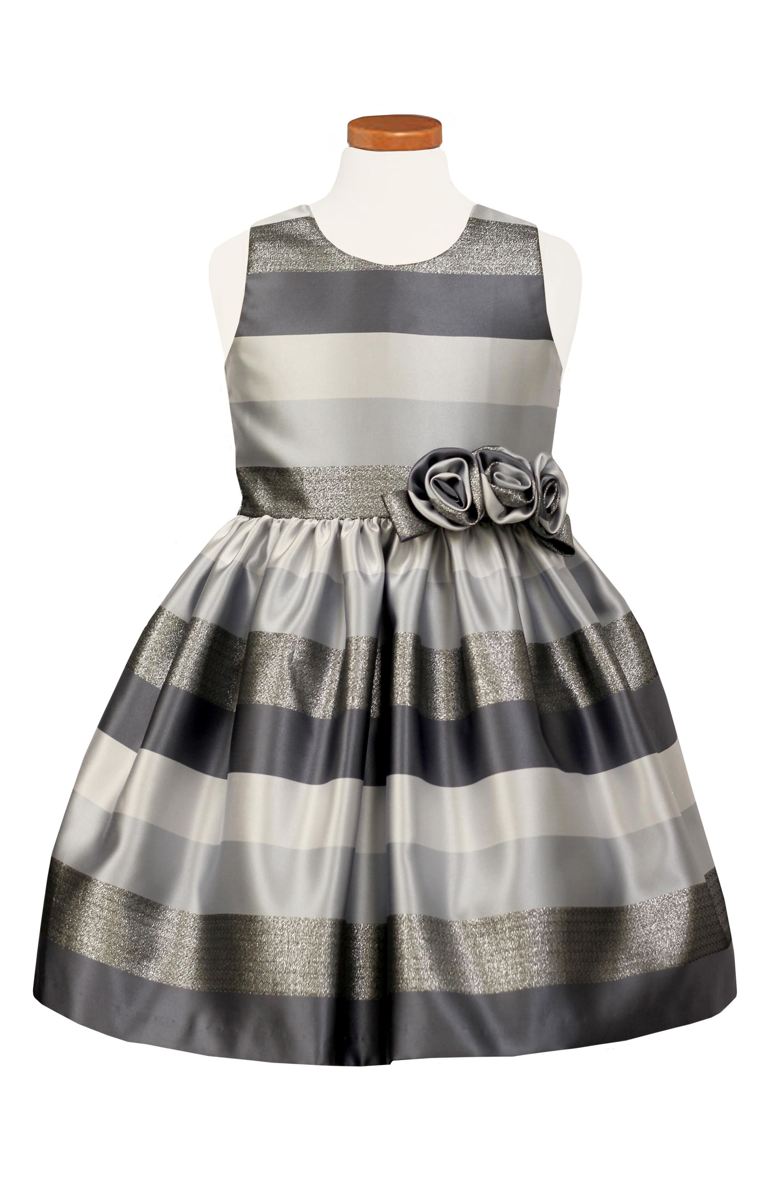 Metallic Stripe Dress,                             Main thumbnail 1, color,                             Grey