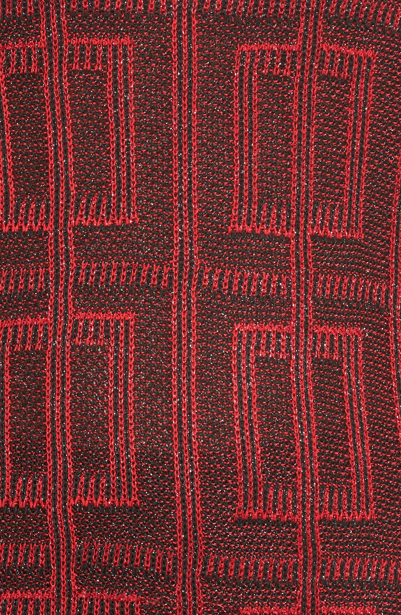 Scoop Neck Tweed Knit,                             Alternate thumbnail 5, color,                             Dusk Red/ Black