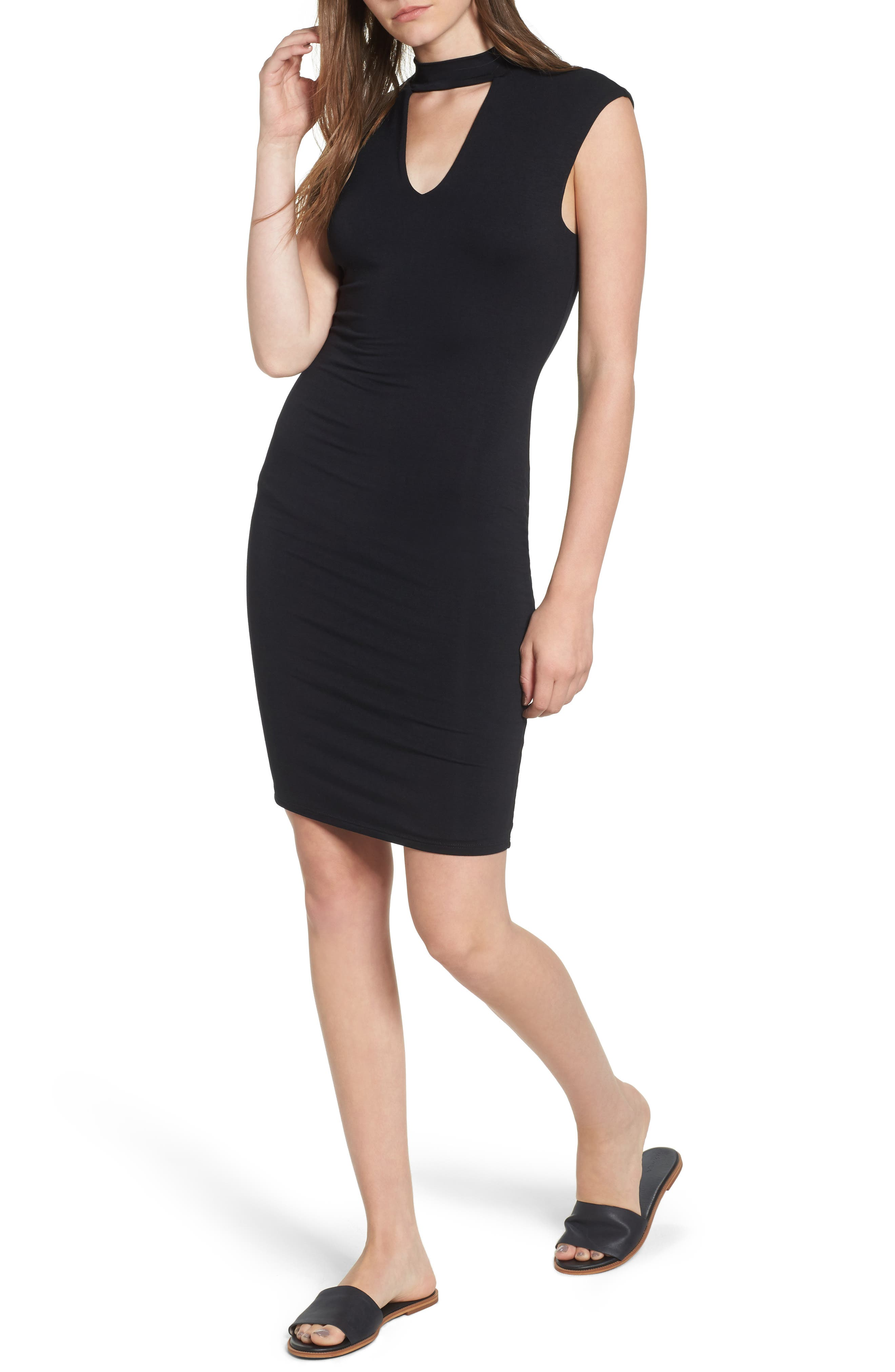 Main Image - Soprano Choker Knit Body-Con Dress