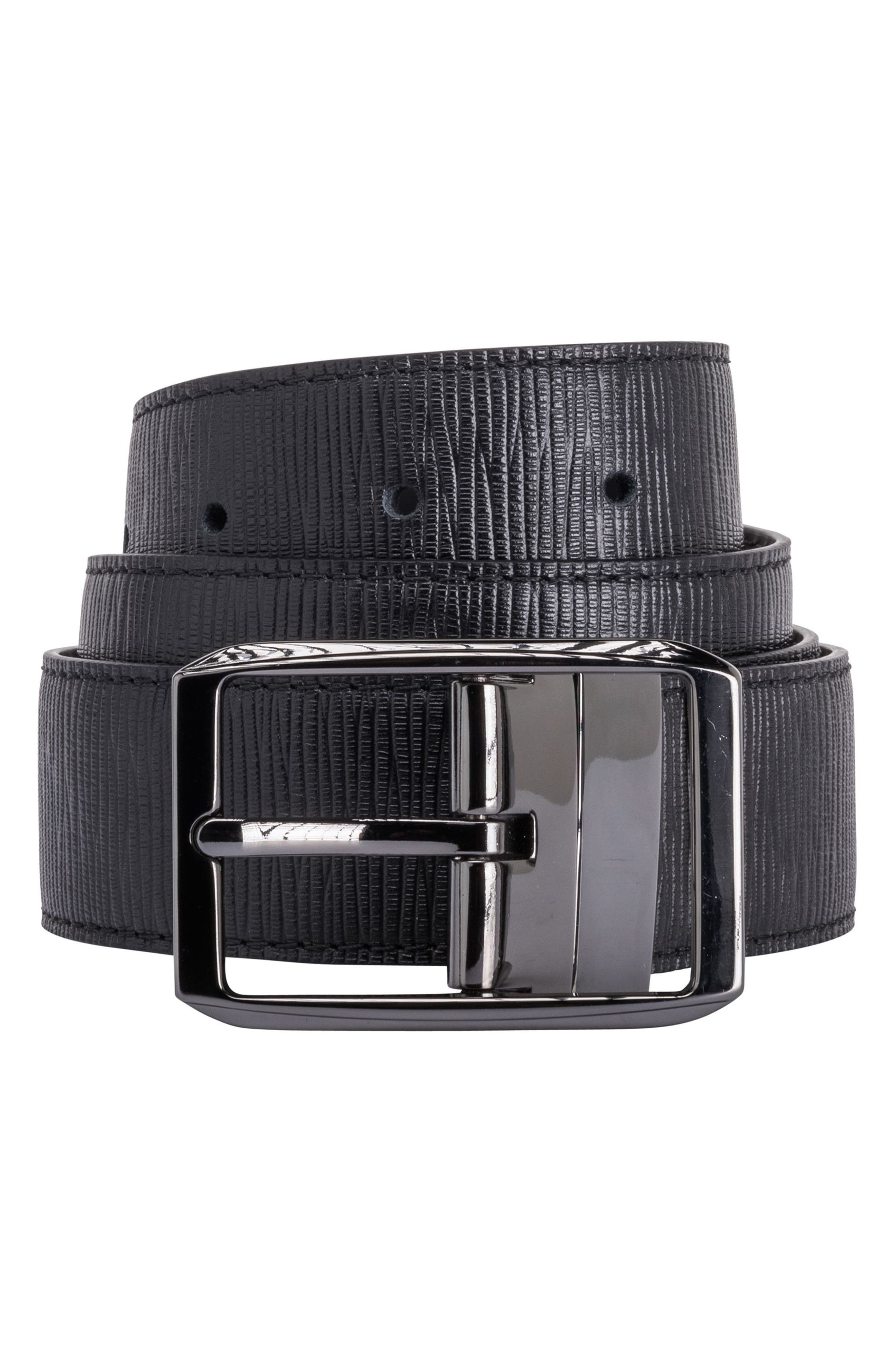Texture Leather Belt,                         Main,                         color, Nero
