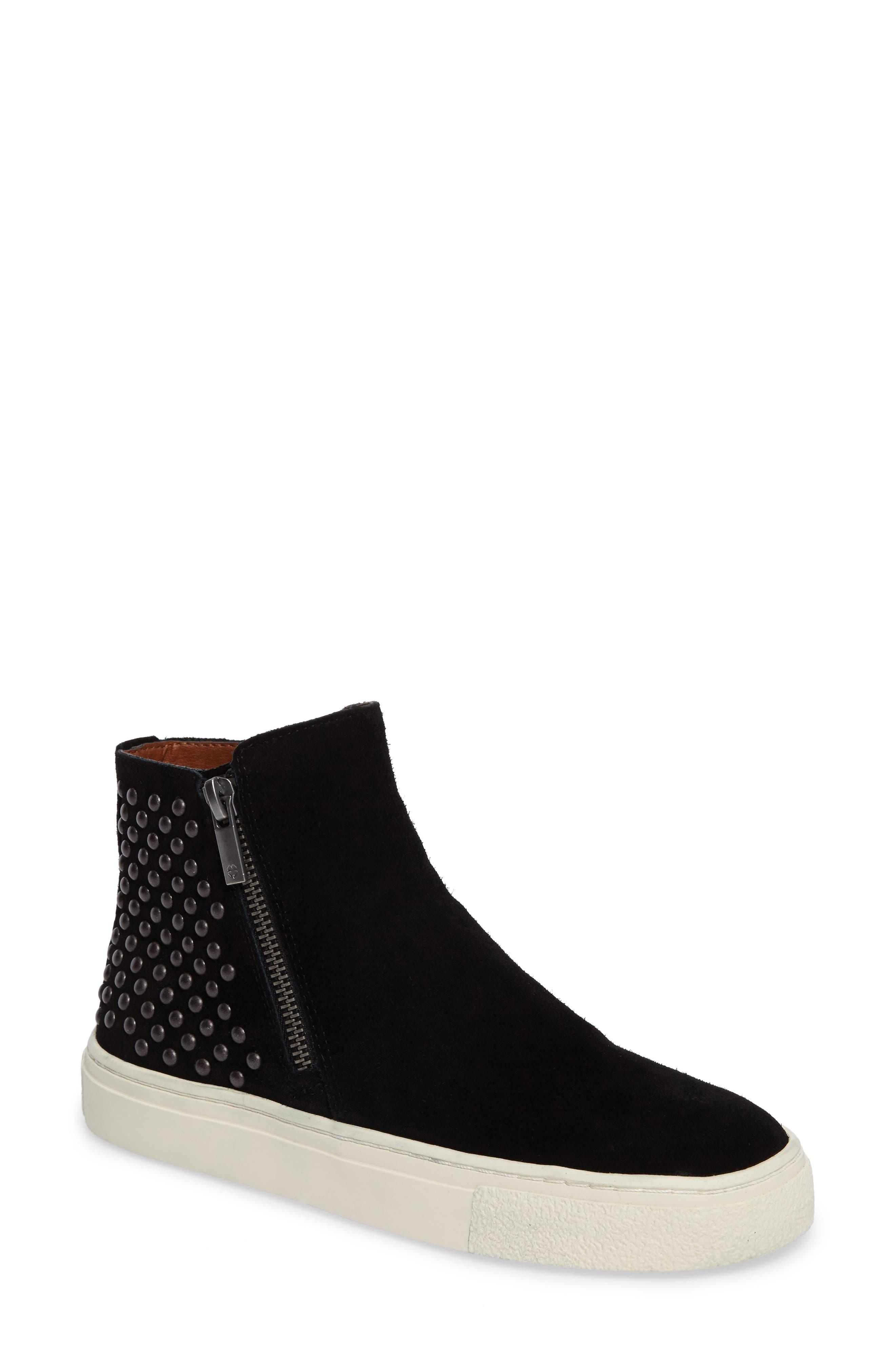 Bayleah High Top Sneaker,                         Main,                         color, Black Suede