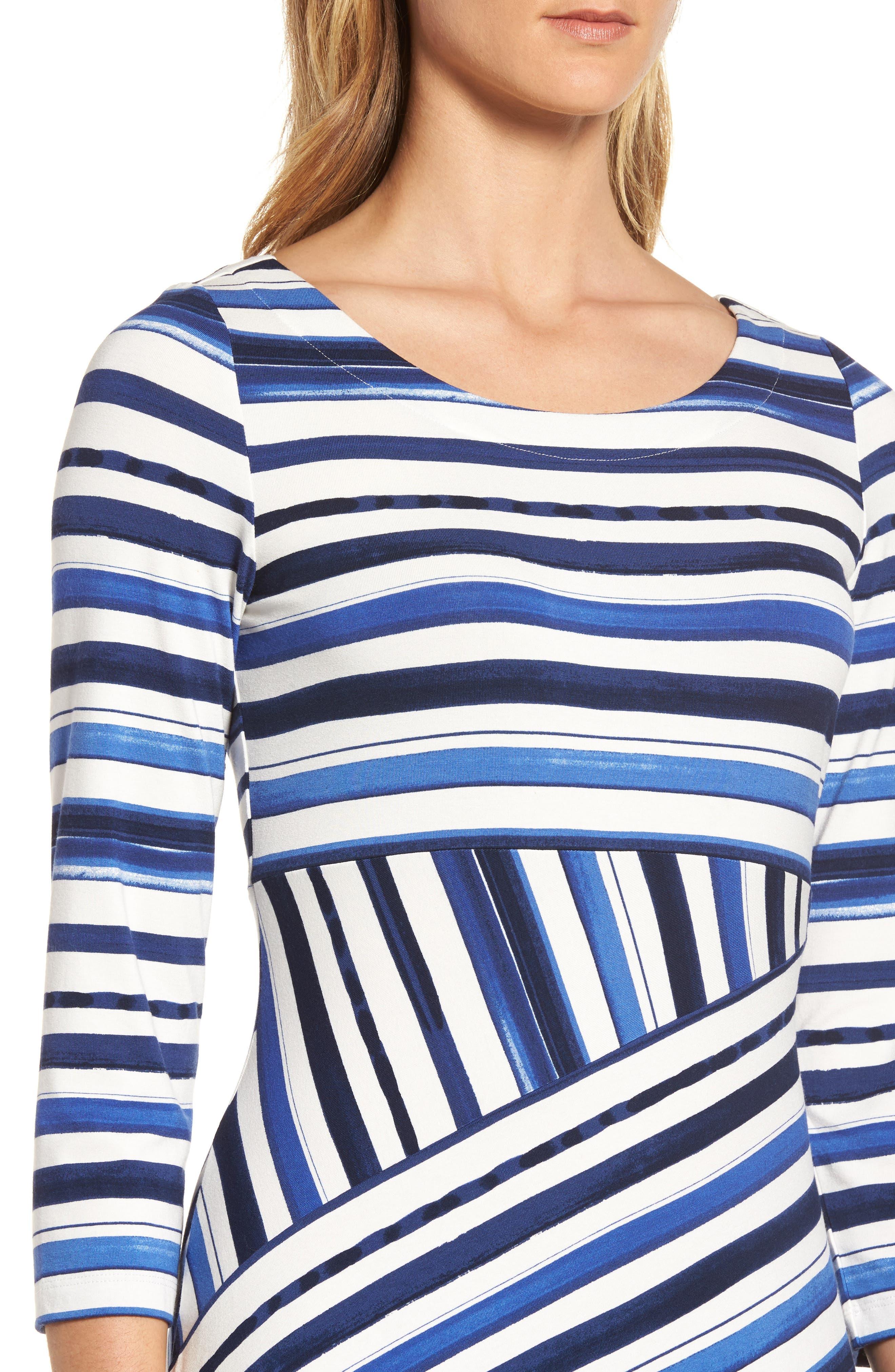 Aquarelle Stripe A-Line Dress,                             Alternate thumbnail 4, color,                             Eclipse