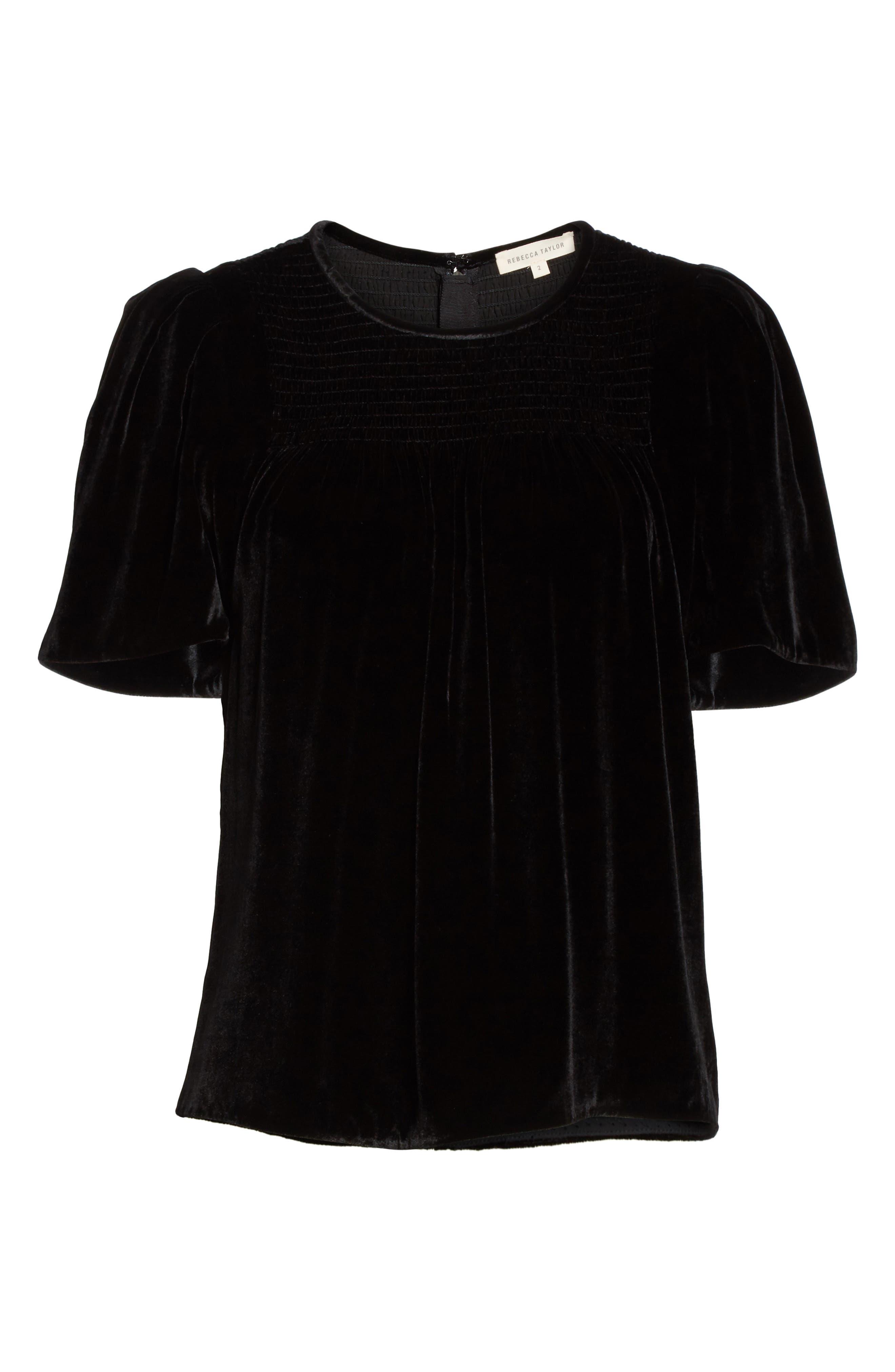 Short Sleeve Velvet Top,                             Alternate thumbnail 6, color,                             Black