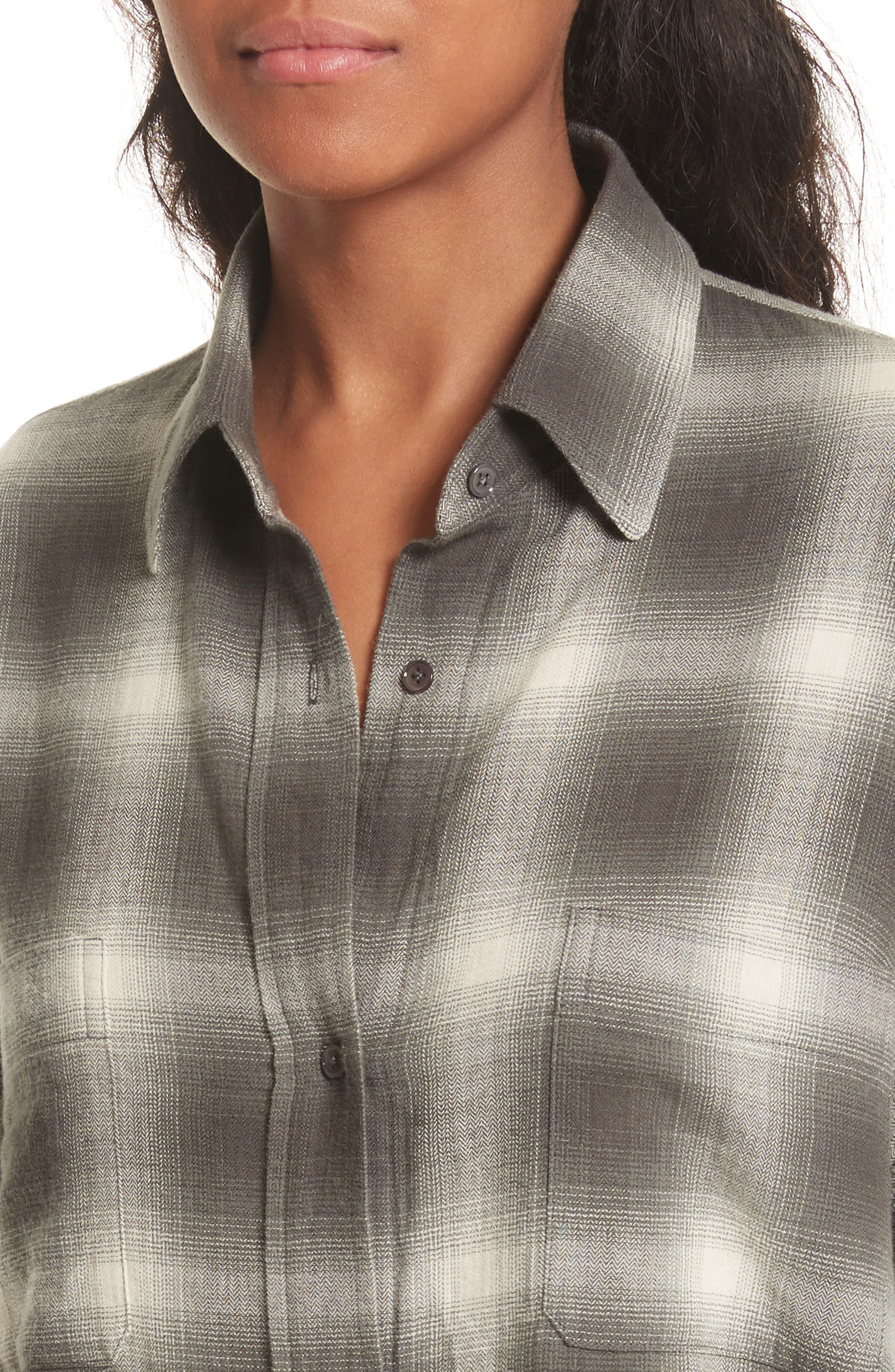 Brushed Window Plaid Oversize Shirt,                             Alternate thumbnail 5, color,                             Grey