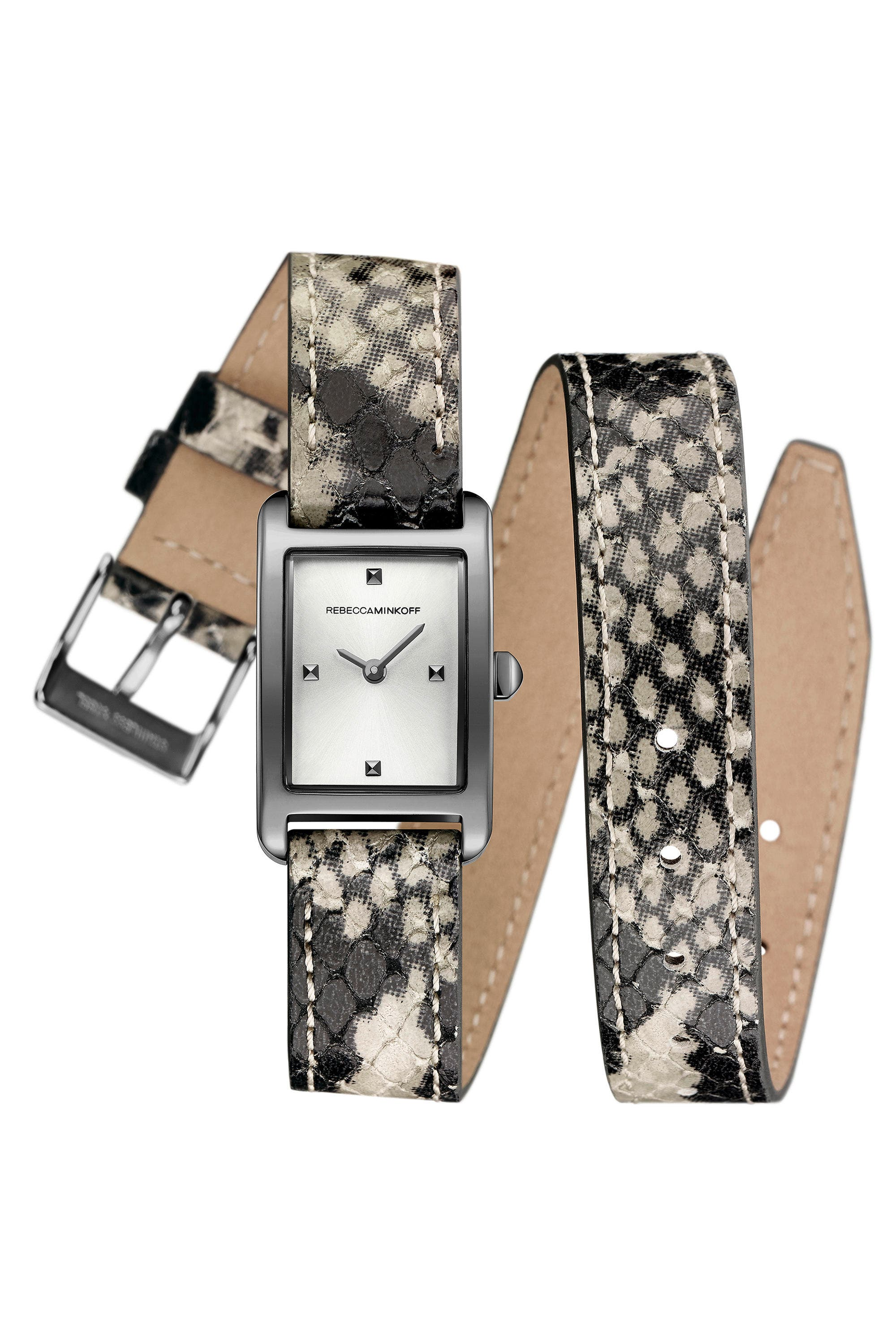 Moment Wrap Leather Strap Watch, 19mm x 30mm,                             Main thumbnail 1, color,                             Python/ Silver/ Gunmetal