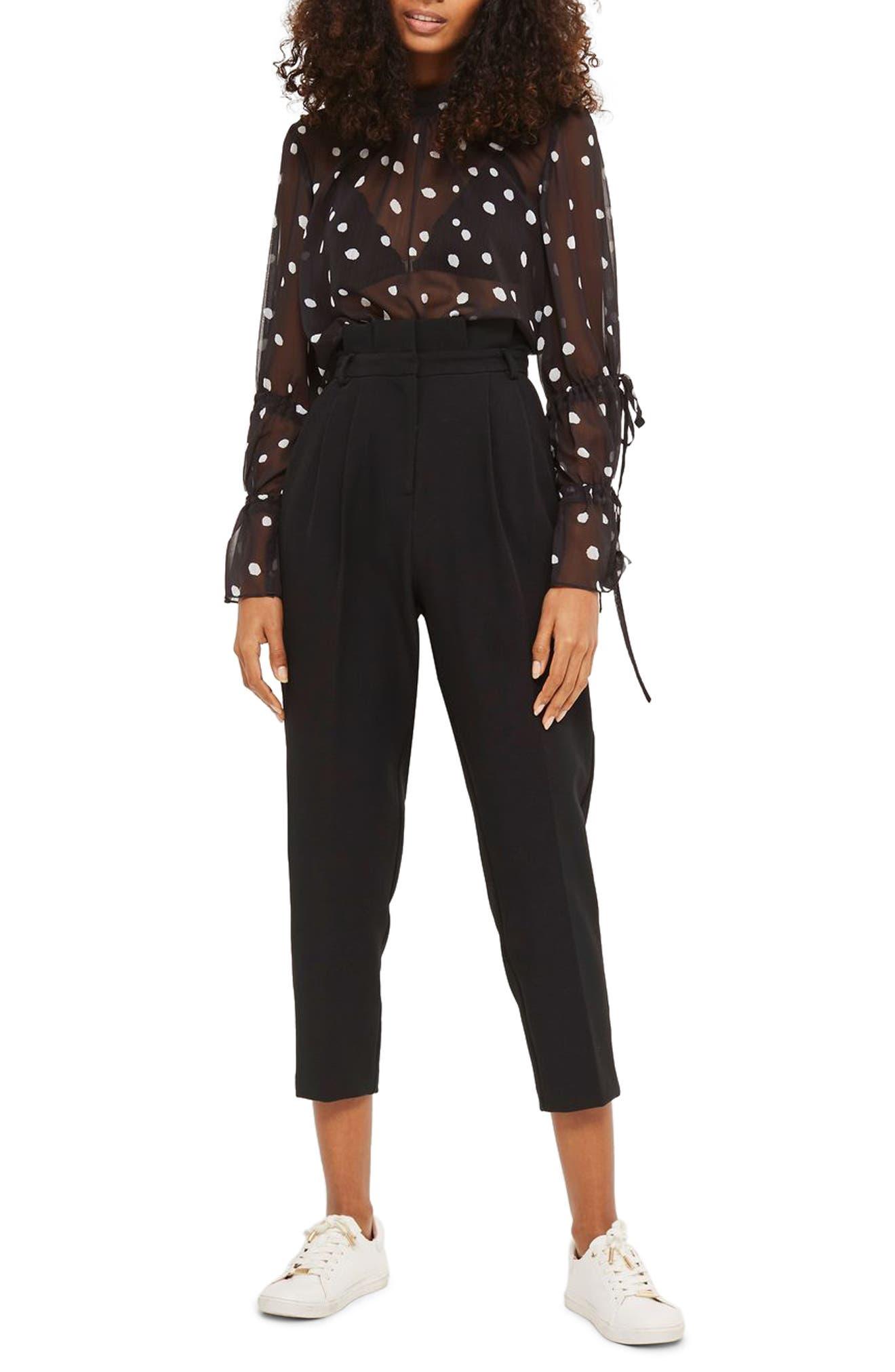 Pleated Waist Peg Trousers,                         Main,                         color, Black