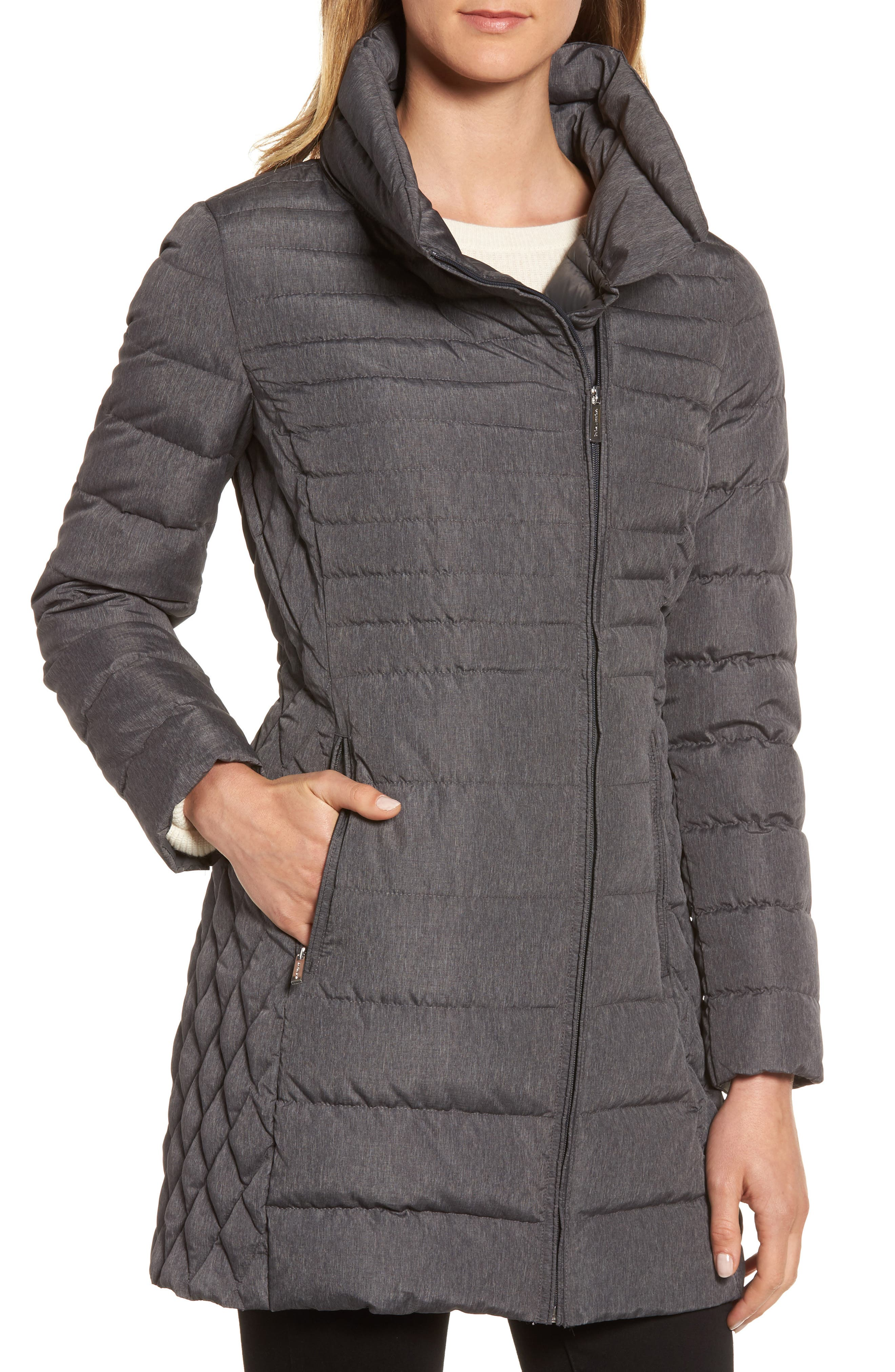 Water Repellent Packable Puffer Coat,                         Main,                         color, Charcoal