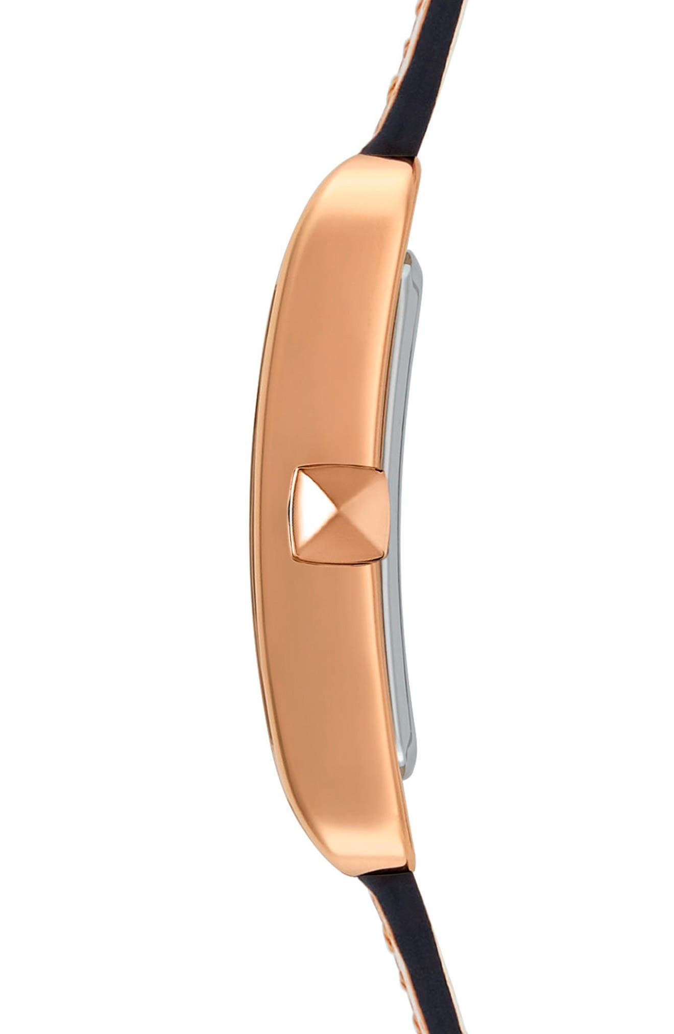 Moment Leather Strap Watch, 27mm x 39mm,                             Alternate thumbnail 3, color,                             Blush/ White/ Rose Gold