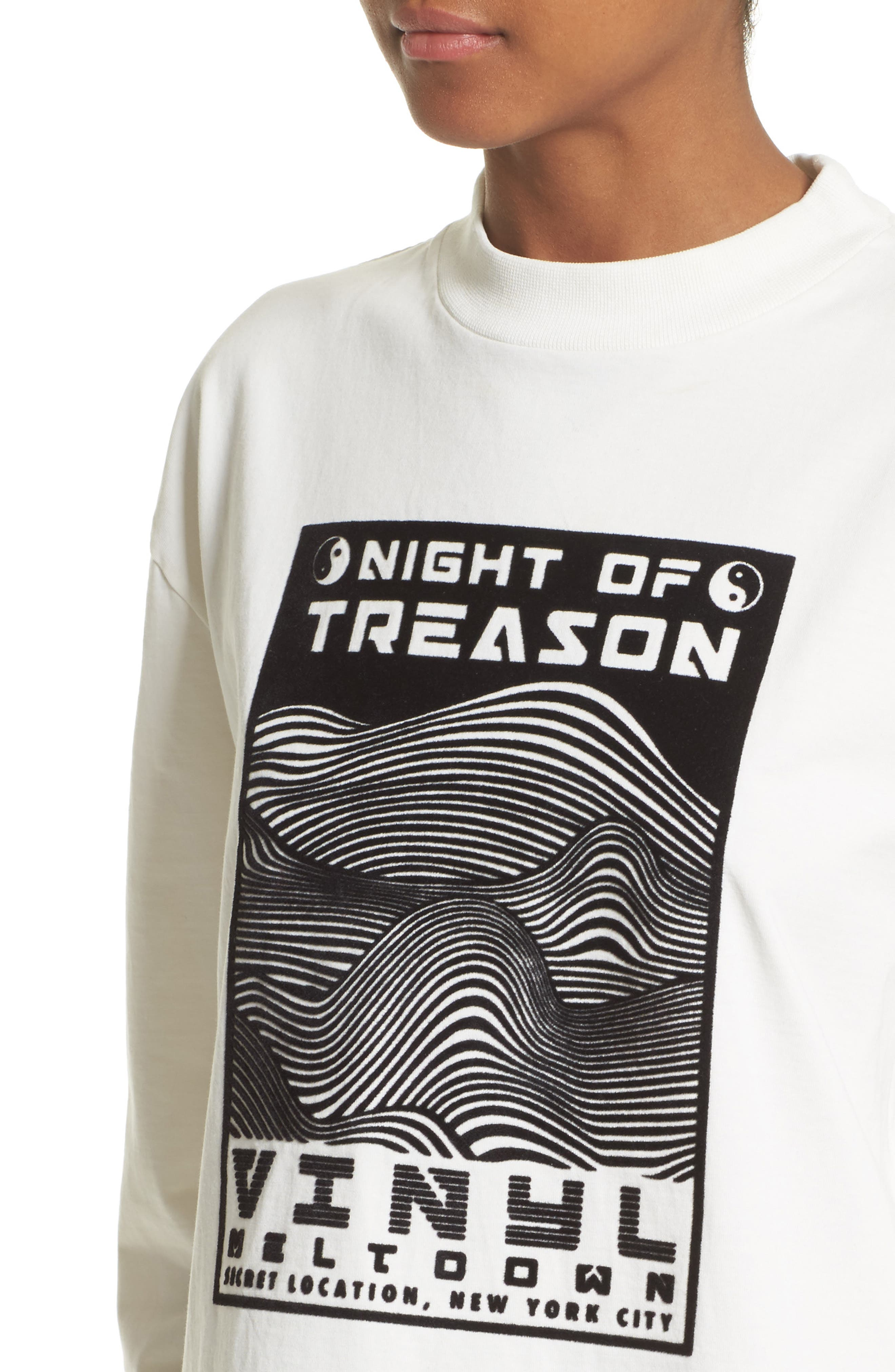 Flocked Graphic Sweatshirt,                             Alternate thumbnail 4, color,                             White