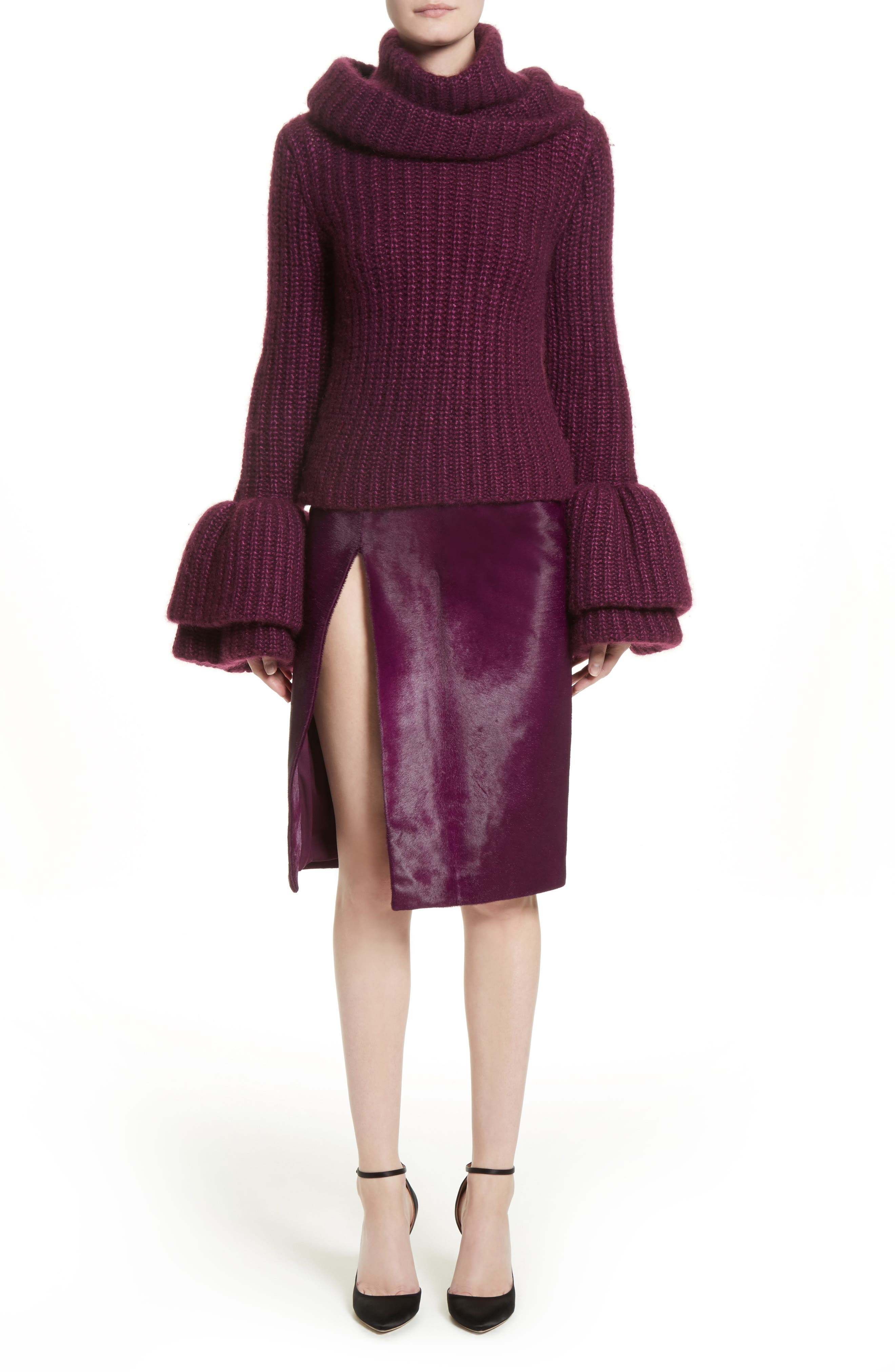 Genuine Calf Hair Pencil Skirt,                             Alternate thumbnail 8, color,                             Purple