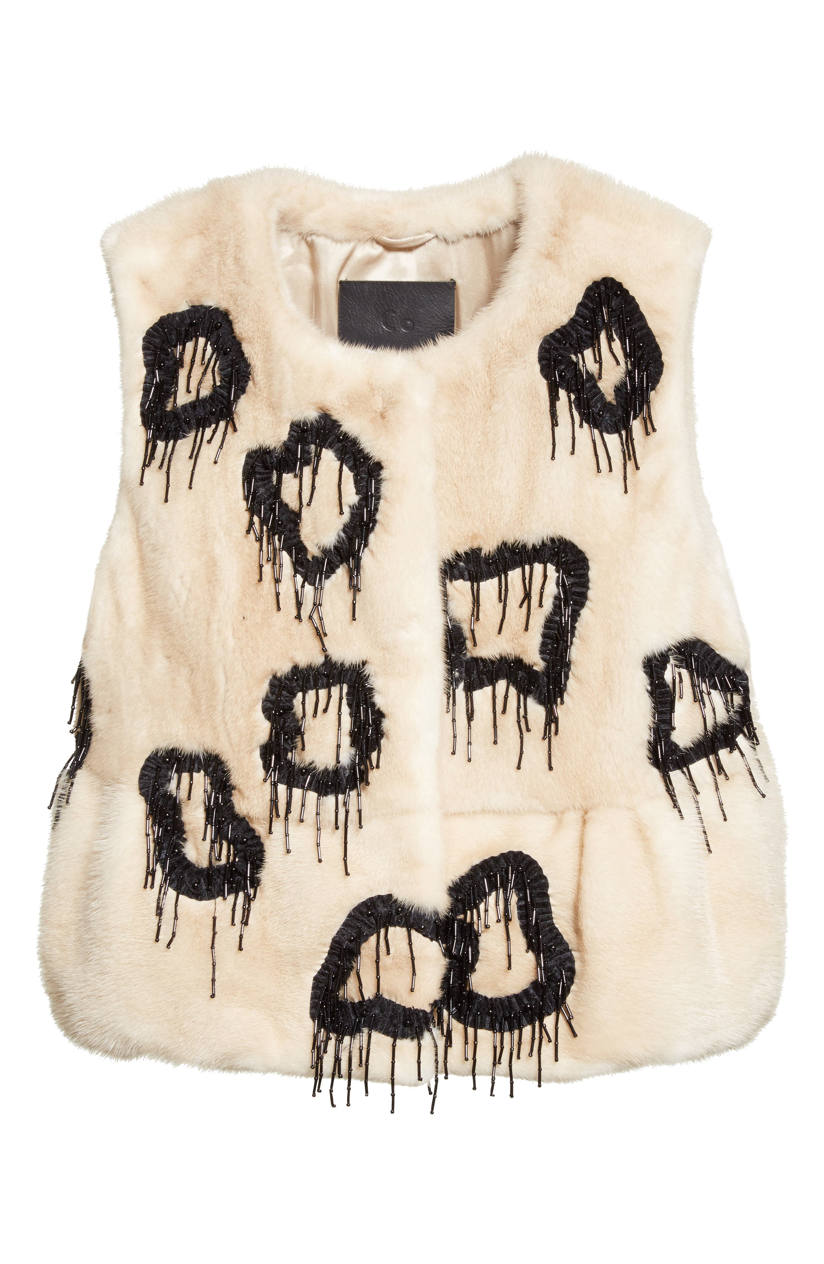 Beaded Genuine Mink Fur Peplum Vest,                             Alternate thumbnail 5, color,                             Beige