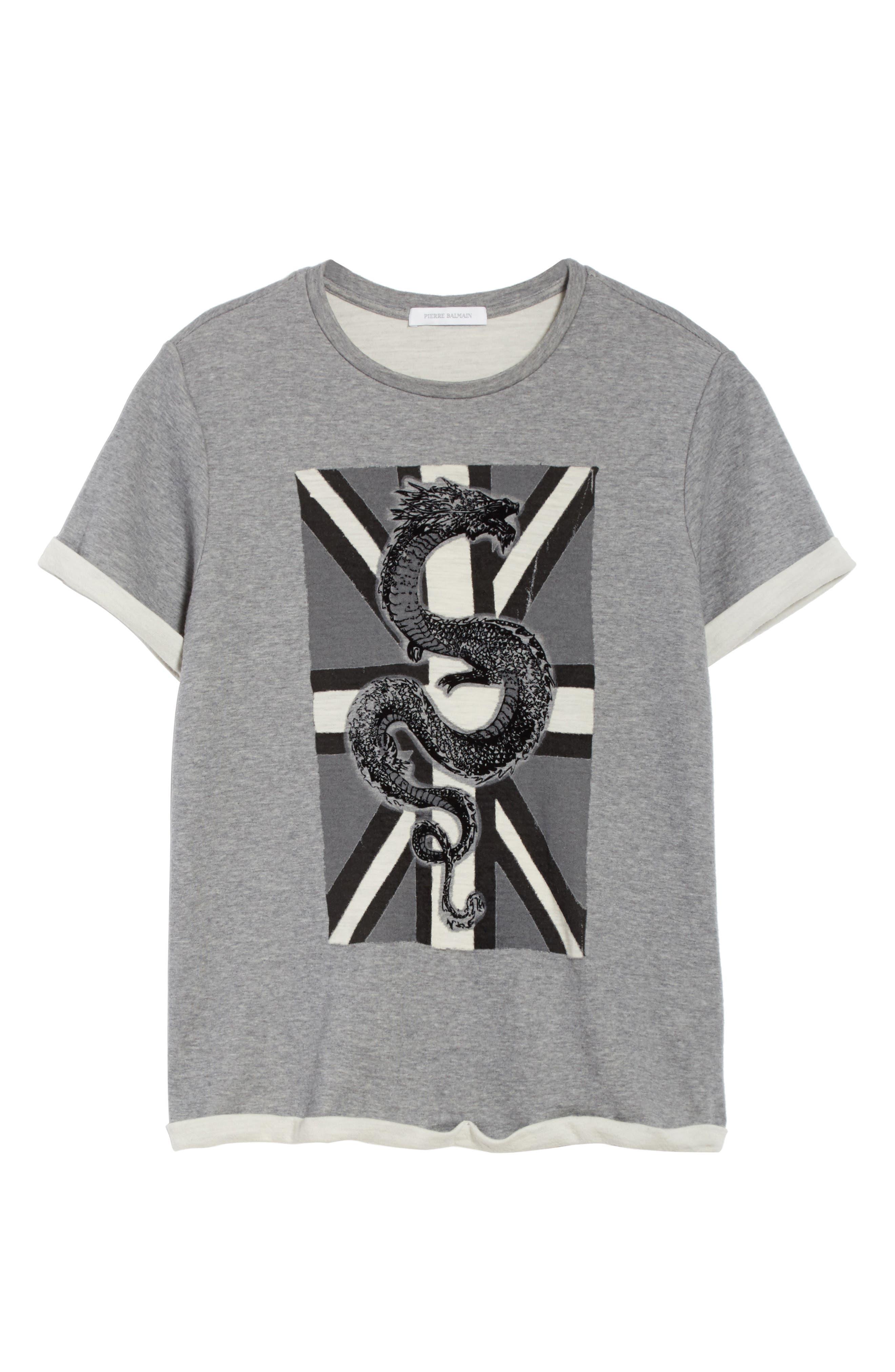 Print Fleece T-Shirt,                             Alternate thumbnail 6, color,                             Grey Melange