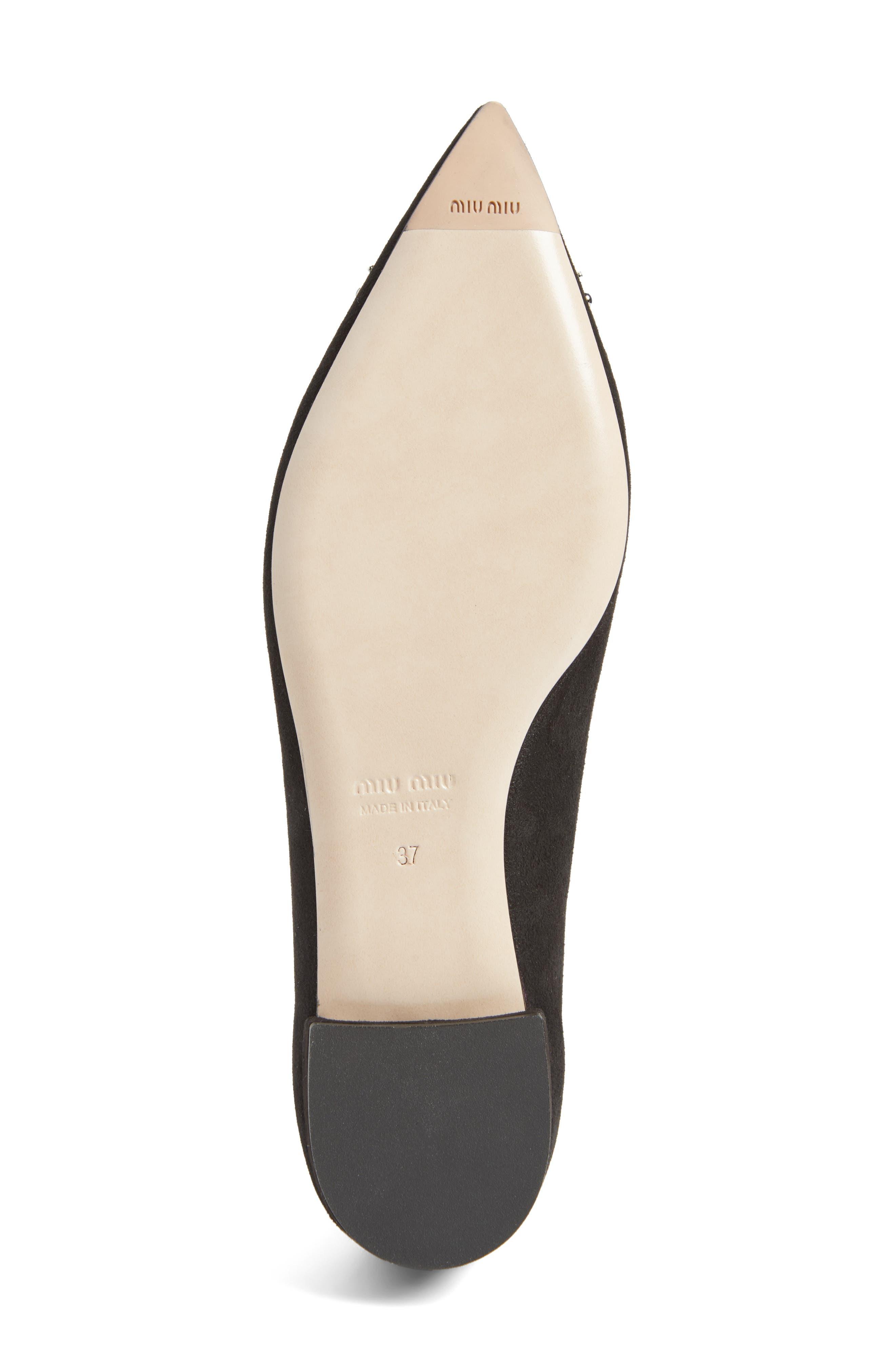 Alternate Image 6  - Miu Miu Embellished Pointy Toe Flat (Women)