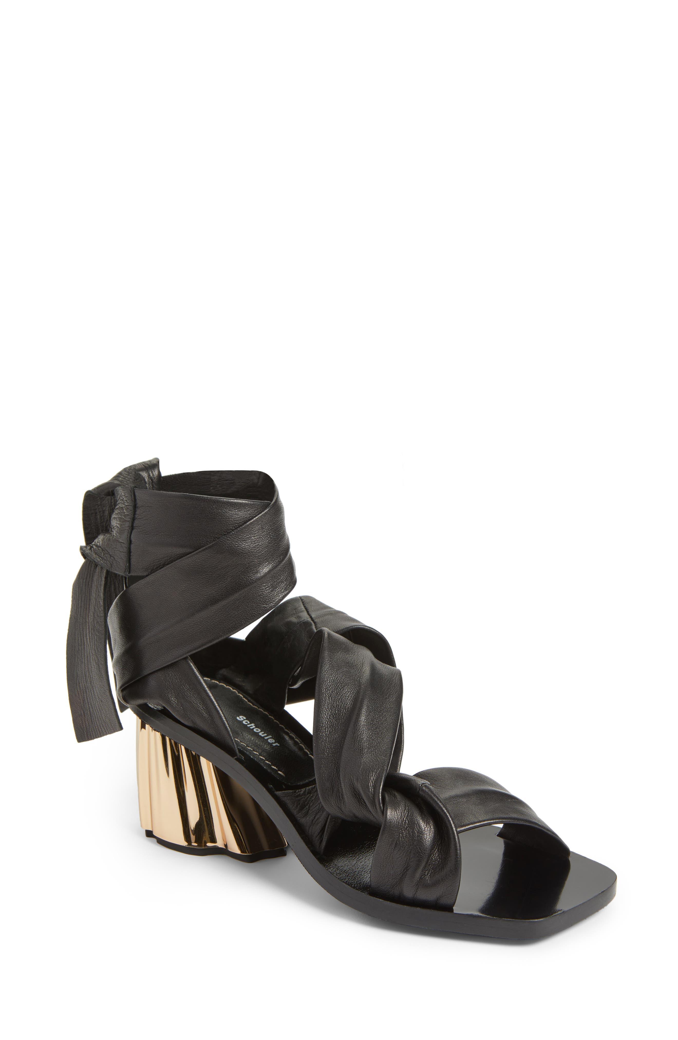 Ankle Wrap Sandal,                         Main,                         color, Black