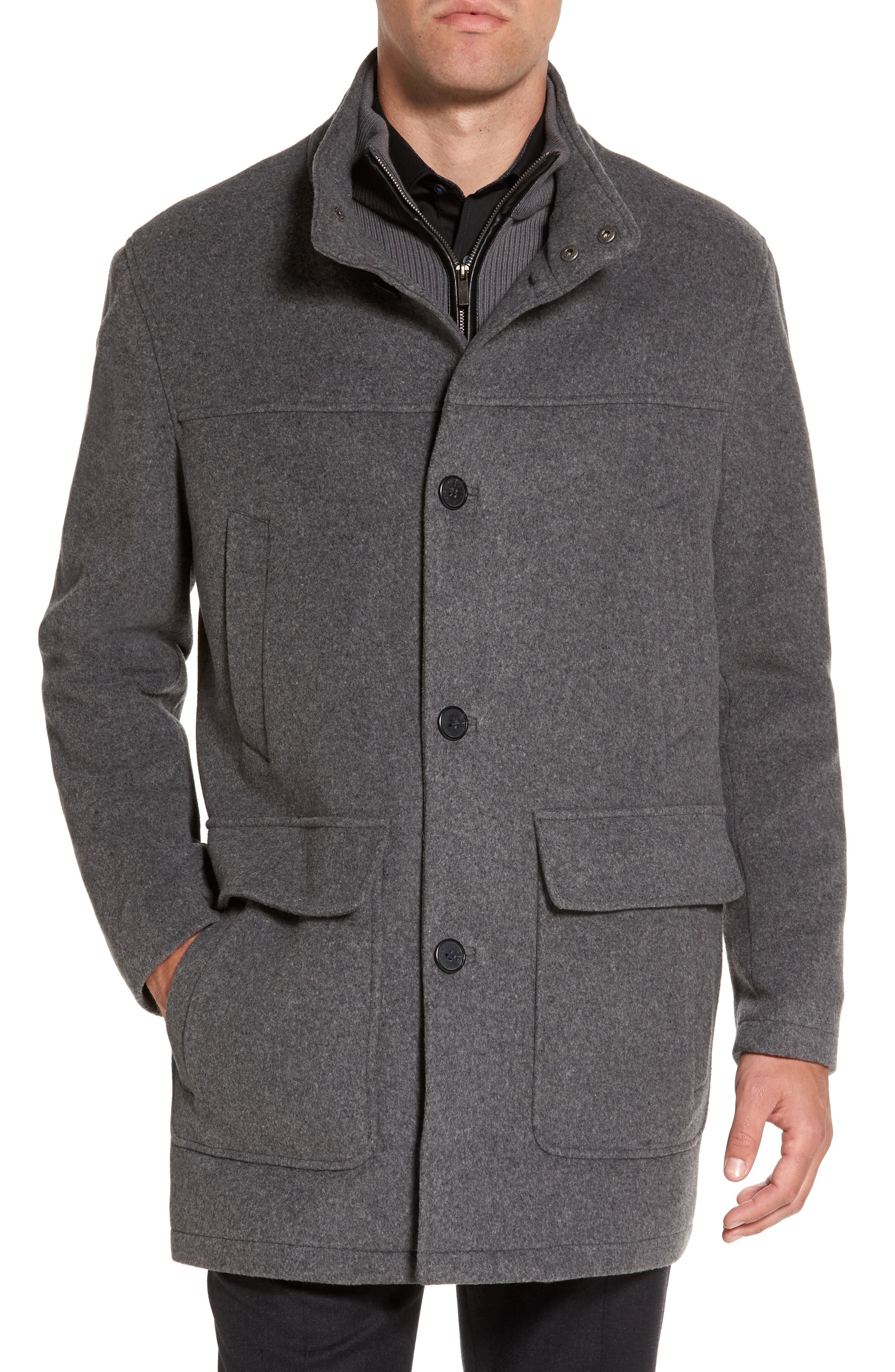 Wool Blend Topcoat with Inset Bib,                             Main thumbnail 1, color,                             Light Grey