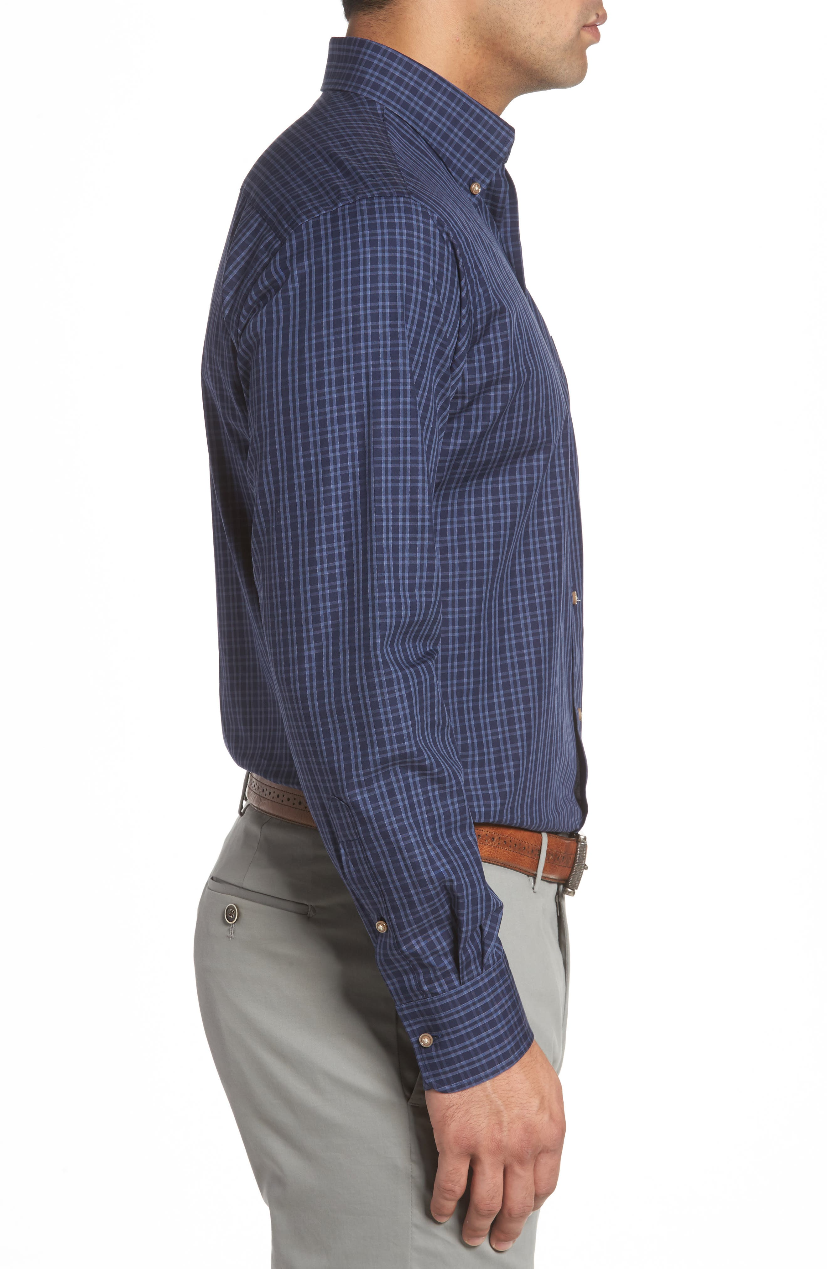 Autumn Check Regular Fit Sport Shirt,                             Alternate thumbnail 3, color,                             Seaboard Navy