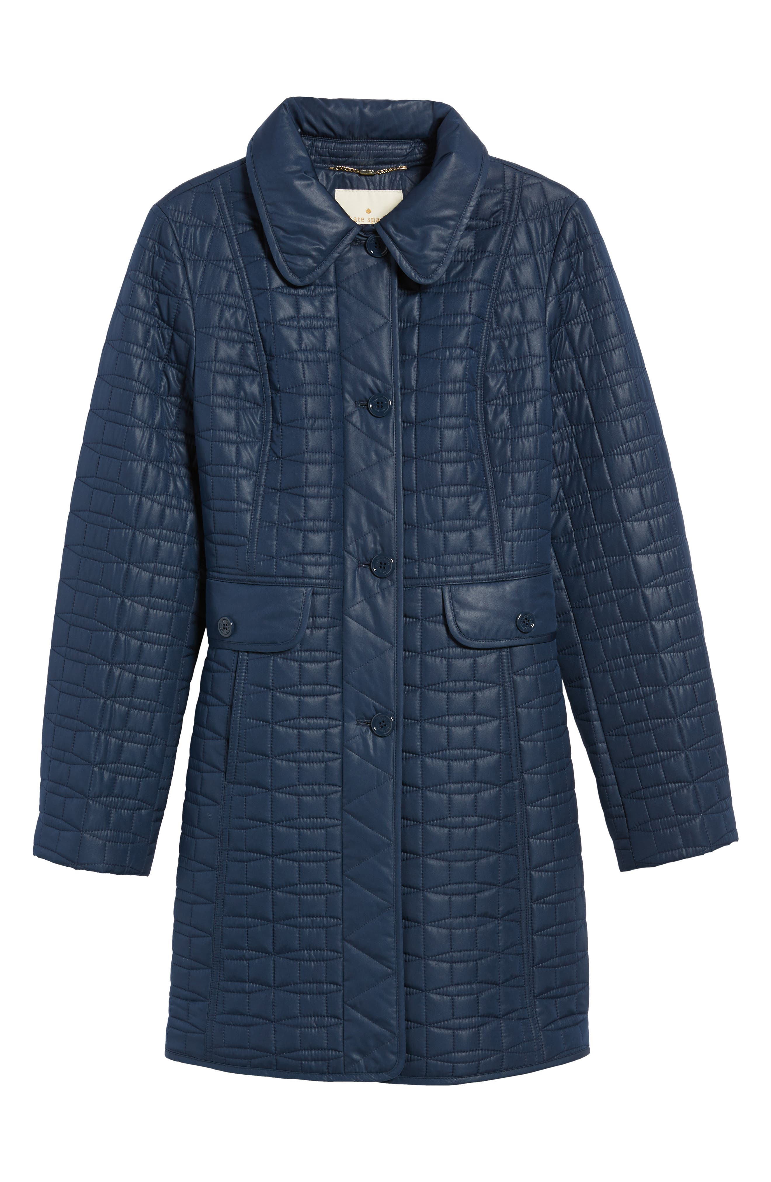 water resistant quilted coat,                             Alternate thumbnail 6, color,                             Rich Navy