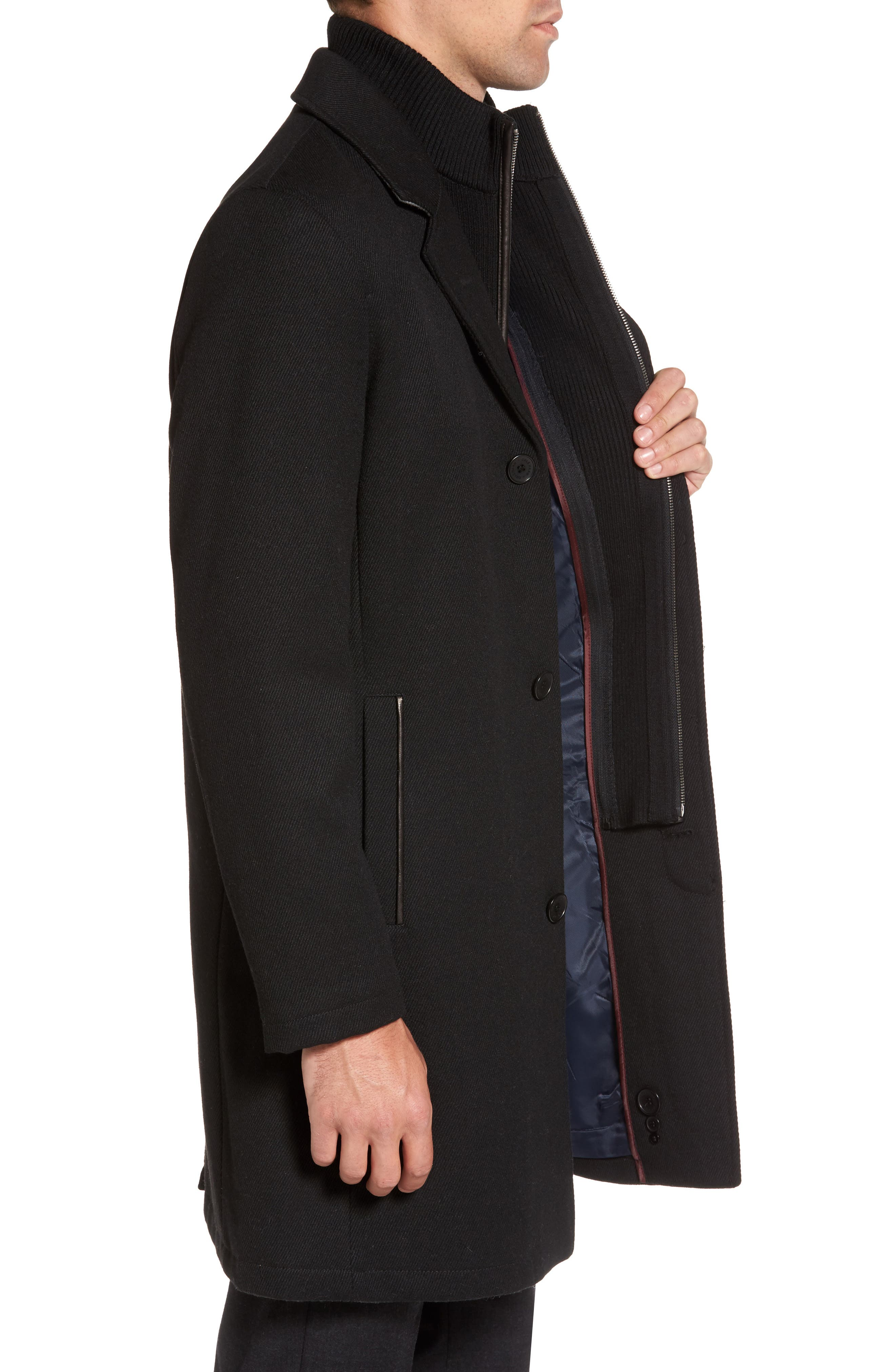 Modern Twill Topcoat with Removable Bib,                             Alternate thumbnail 4, color,                             Black