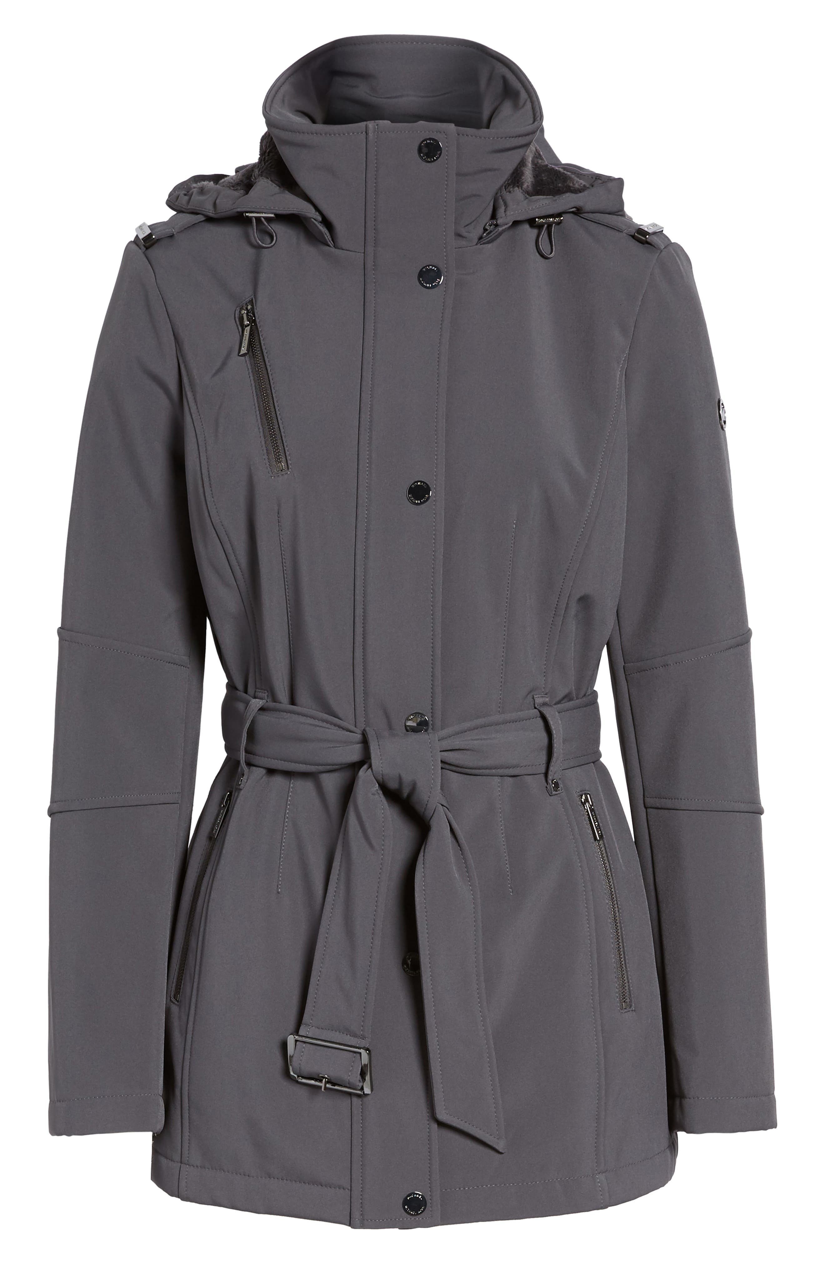 Waterproof Belted Jacket with Detachable Hood,                             Alternate thumbnail 6, color,                             Charcoal