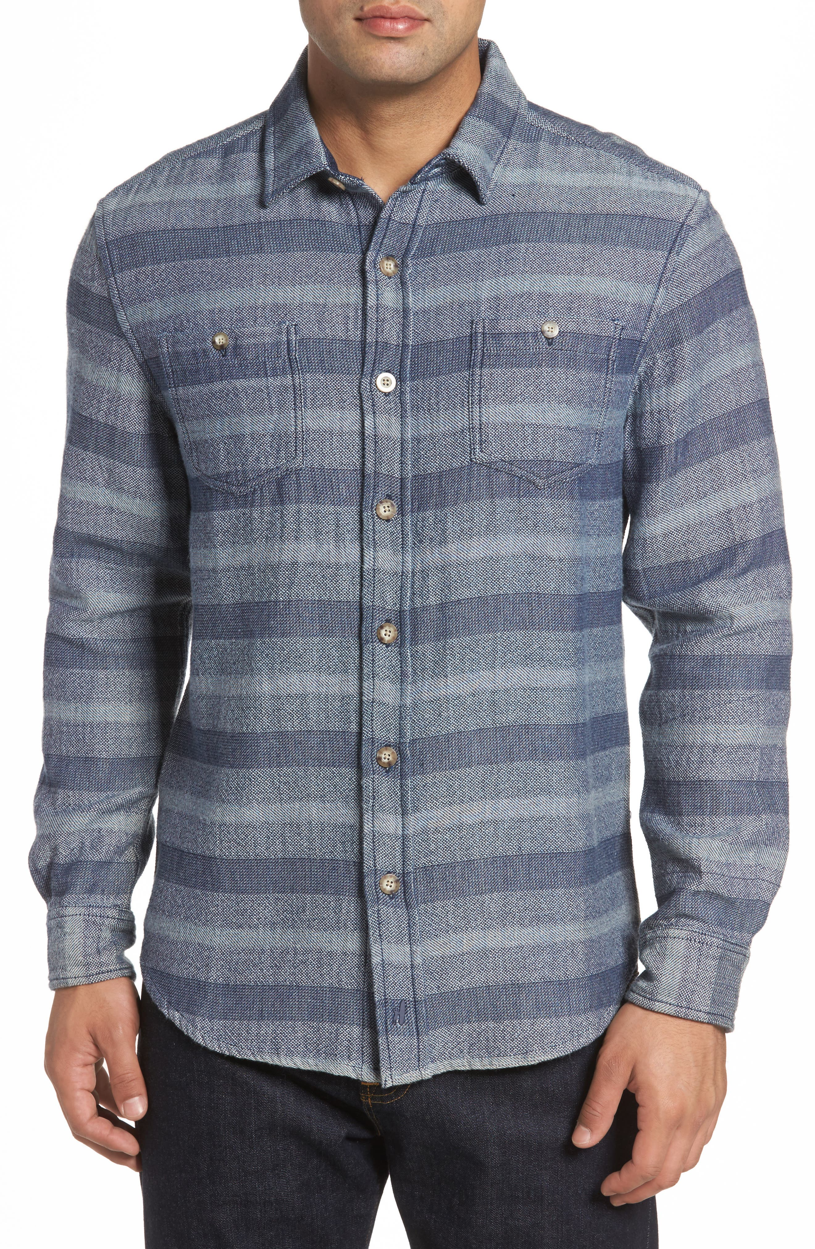 Teton Classic Fit Stripe Sport Shirt,                         Main,                         color, Indigo