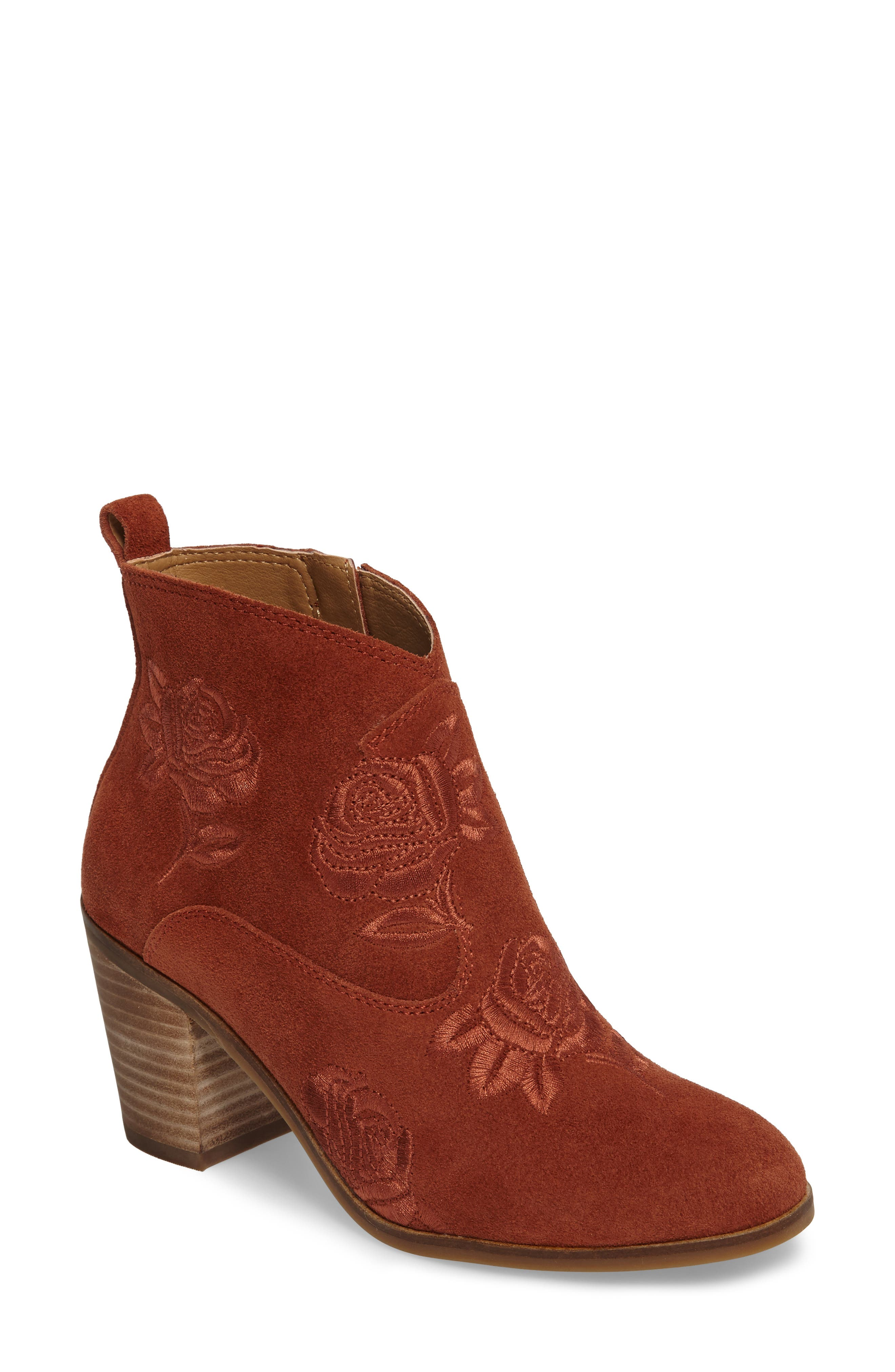 Pexton Embroidered Bootie,                             Main thumbnail 1, color,                             Red Oak Suede