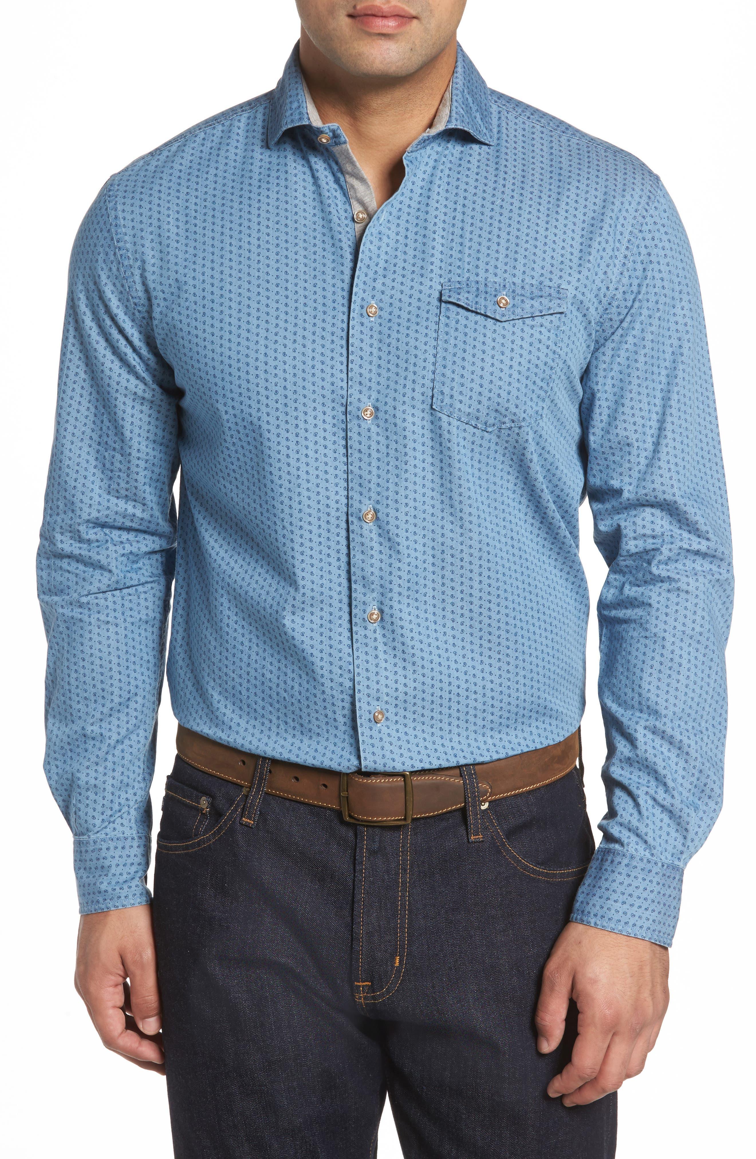 Capetown Classic Fit Paisley Sport Shirt,                         Main,                         color, Gulf Blue