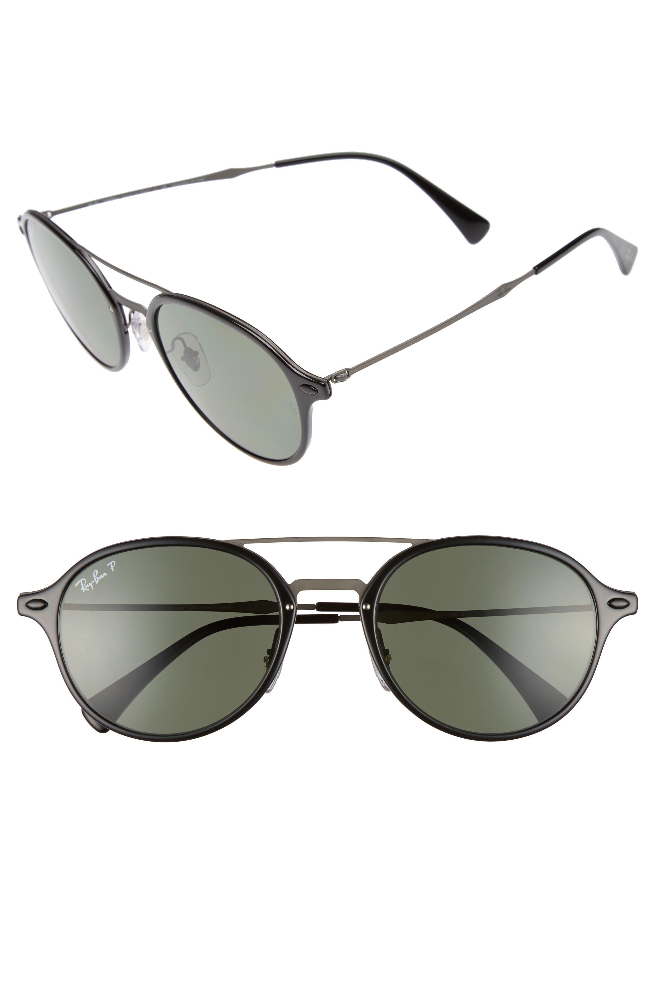 55mm Aviator Sunglasses,                         Main,                         color, Black