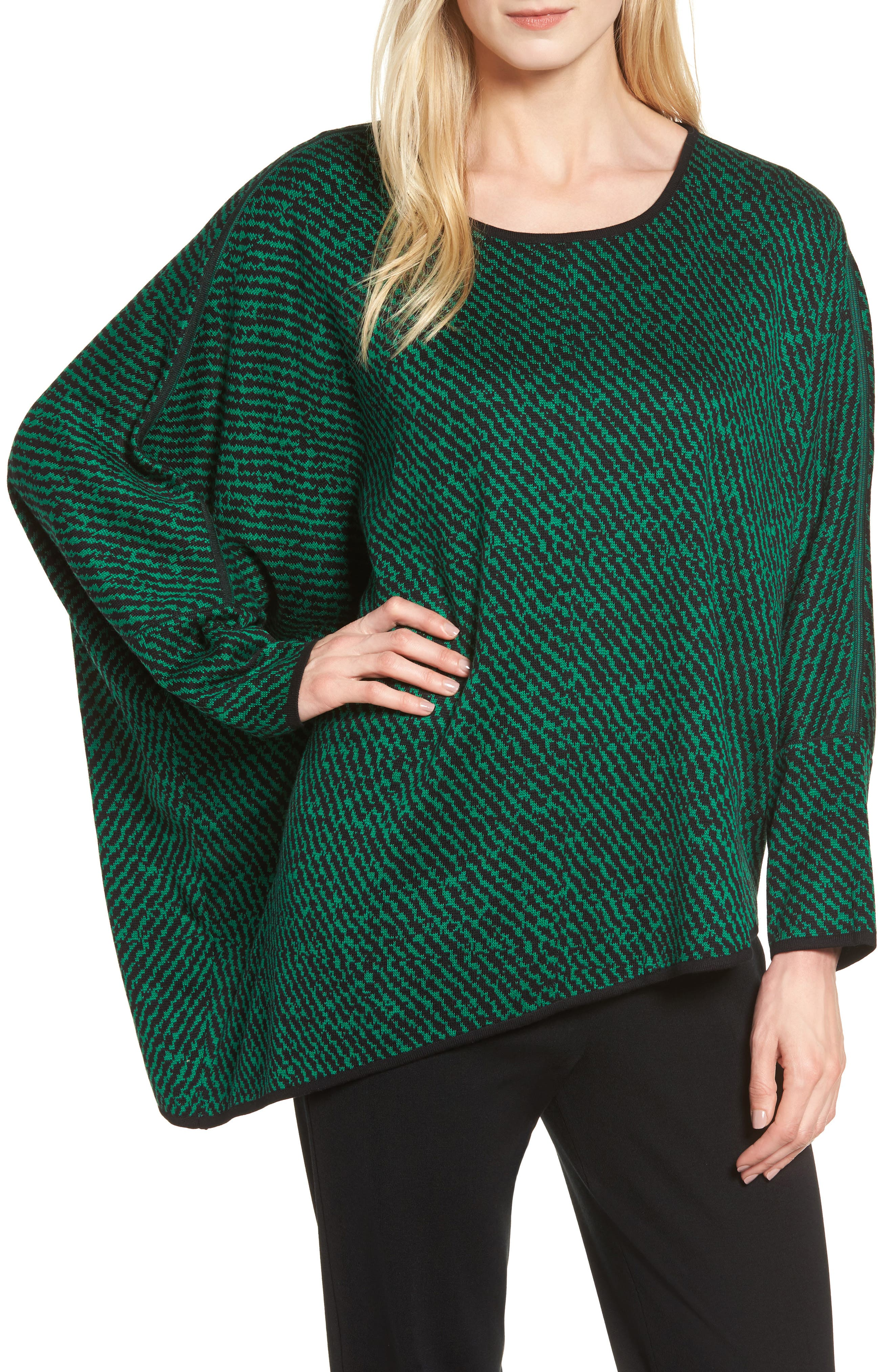 Asymmetrical Sweater,                             Main thumbnail 1, color,                             Black/ Viridian