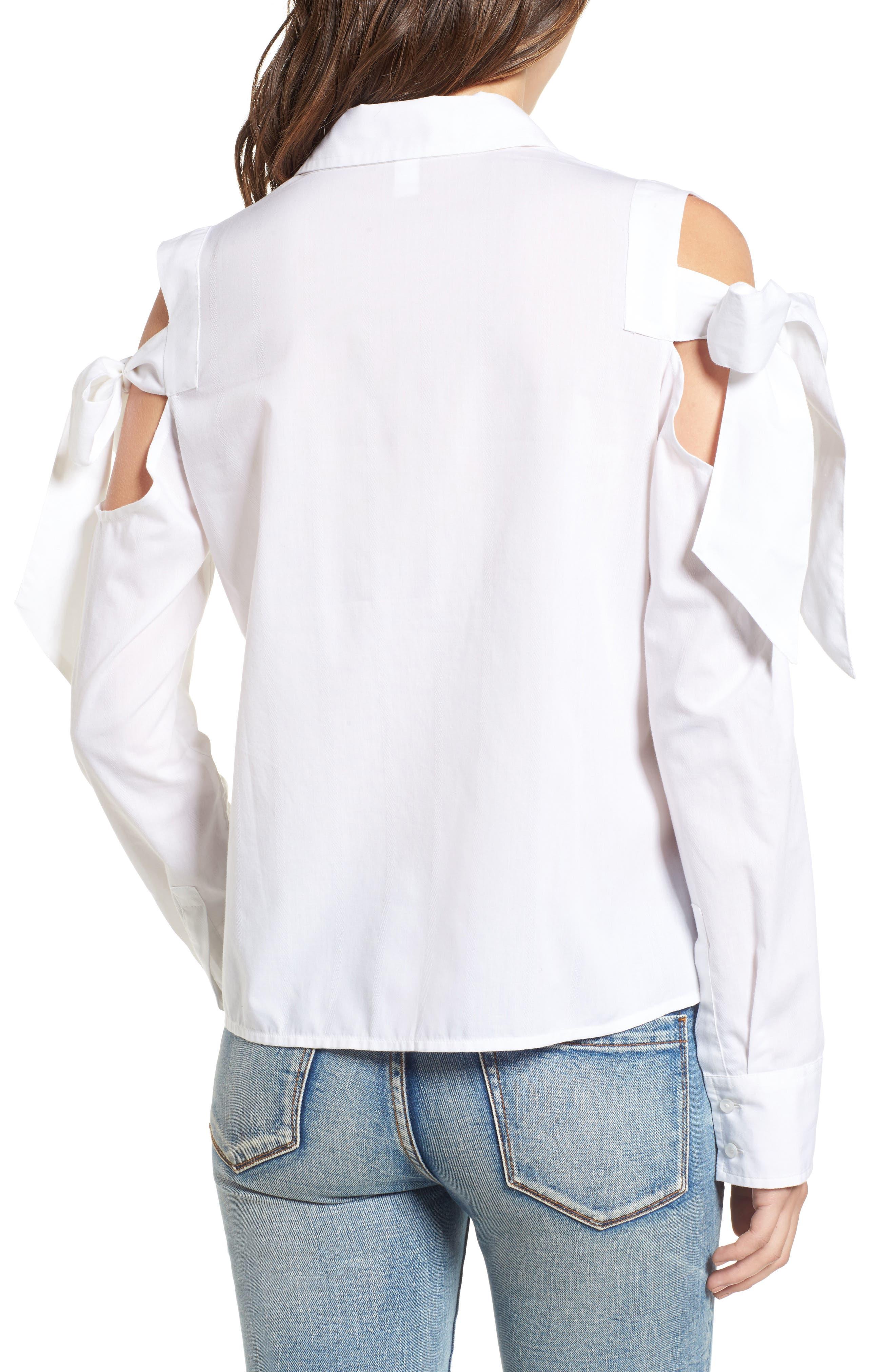 Bow Sleeve Cold Shoulder Shirt,                             Alternate thumbnail 2, color,                             White