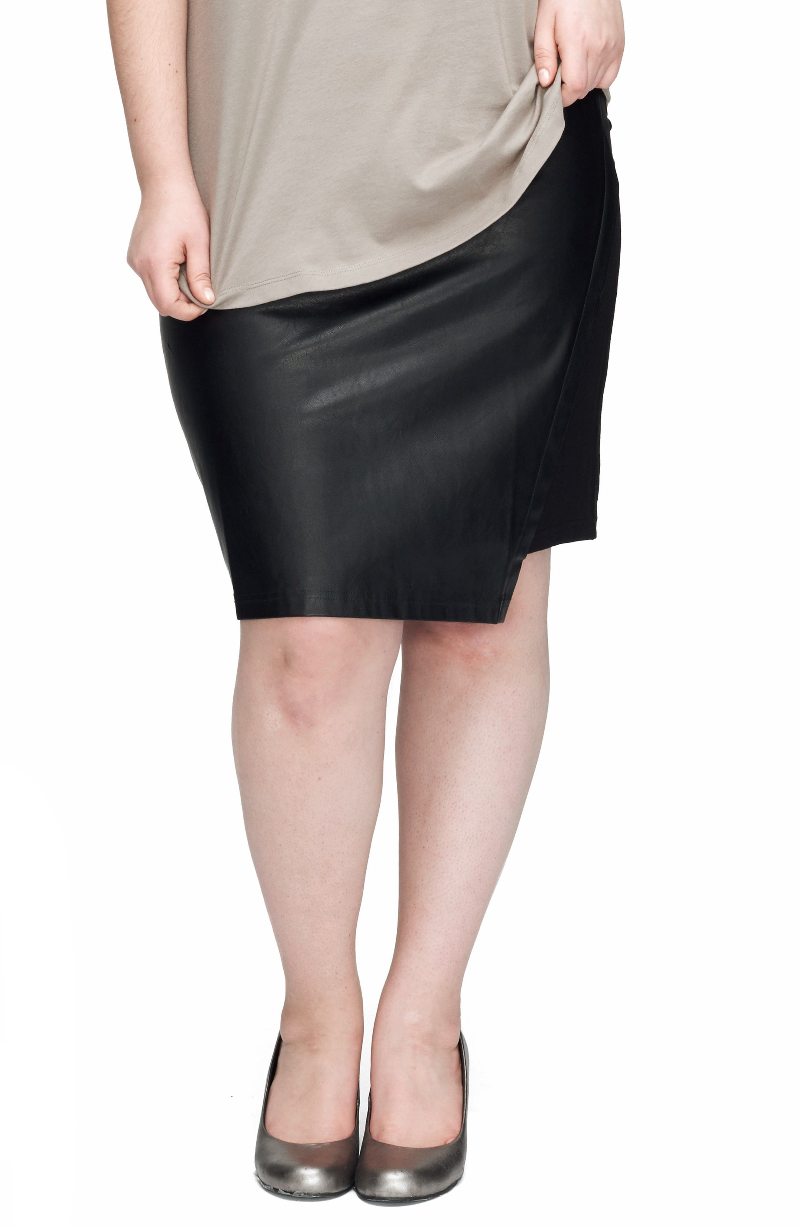 Mosman Faux Leather Front Skirt,                         Main,                         color, Black
