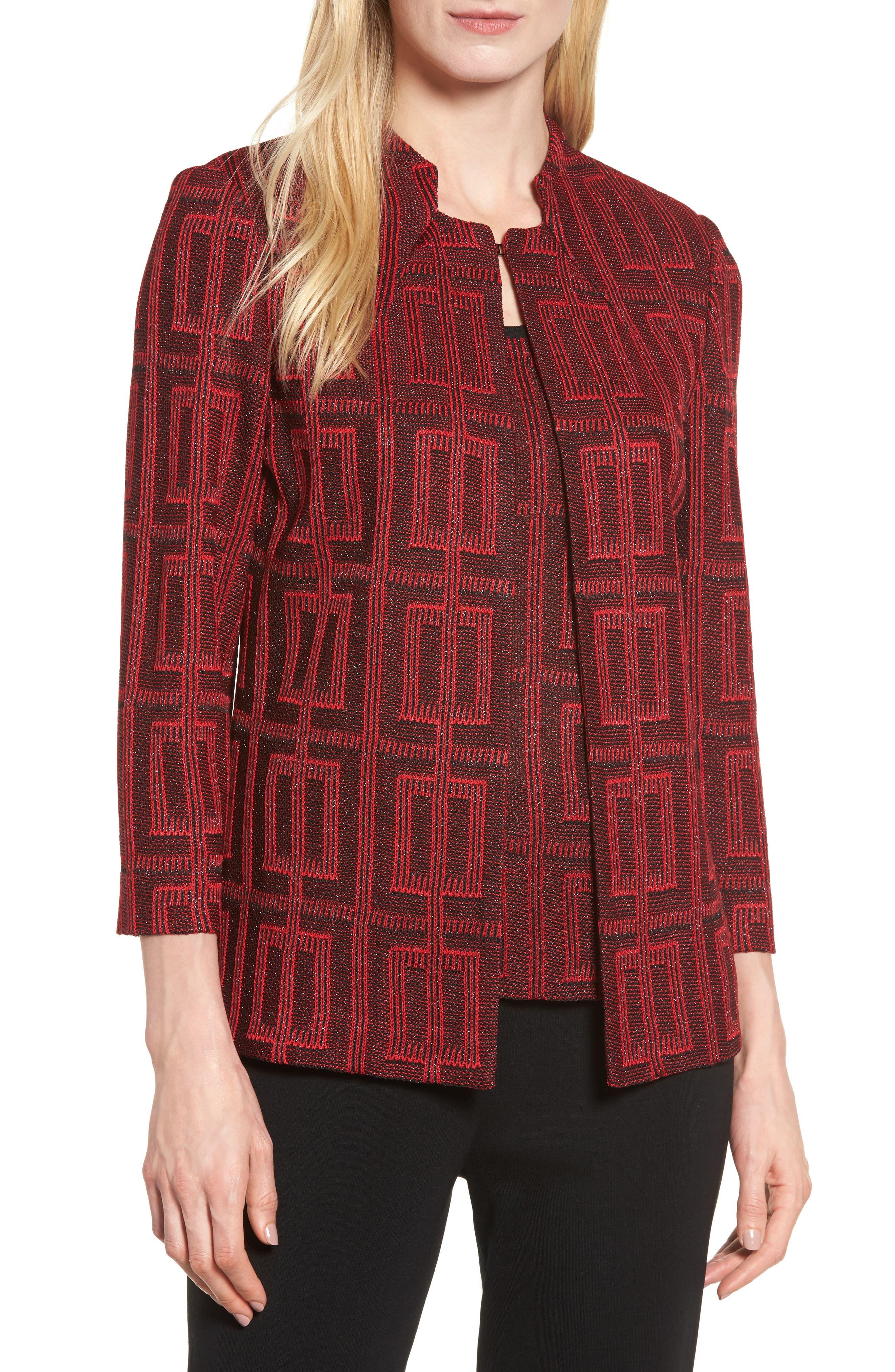 Ming Wang Tweed Knit Jacket