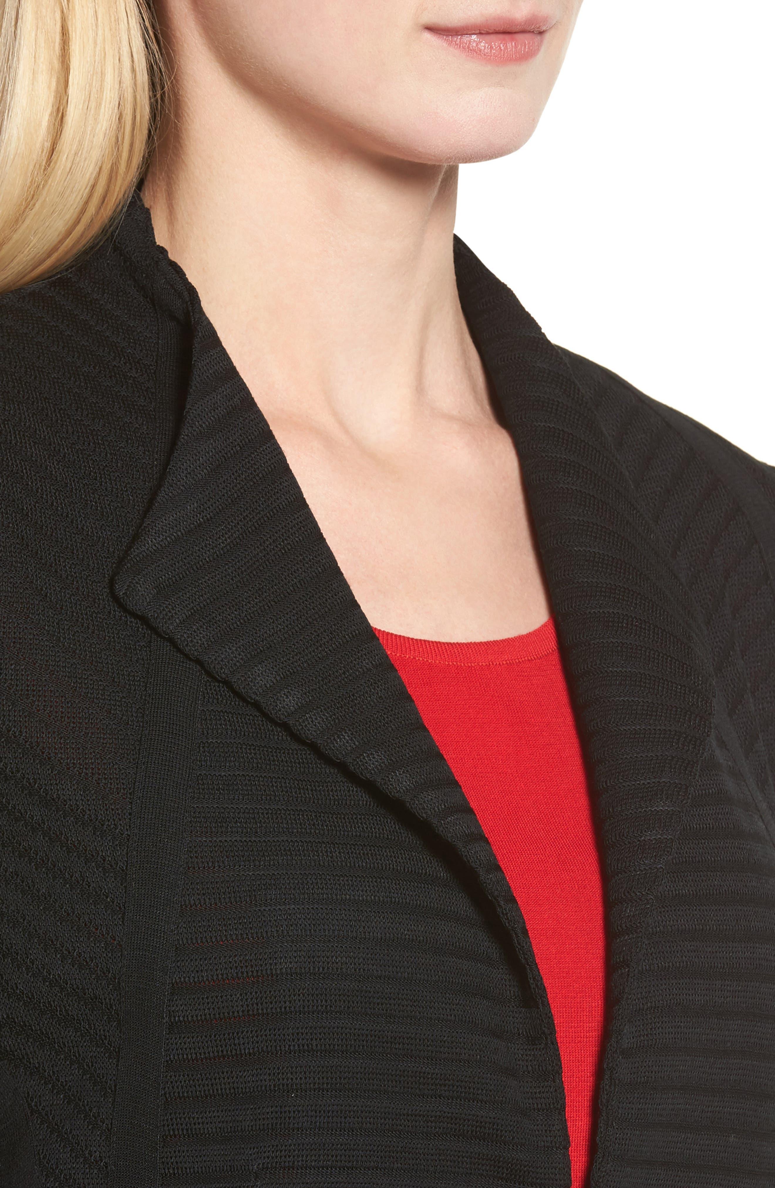 Striped Knit Jacket,                             Alternate thumbnail 4, color,                             Black