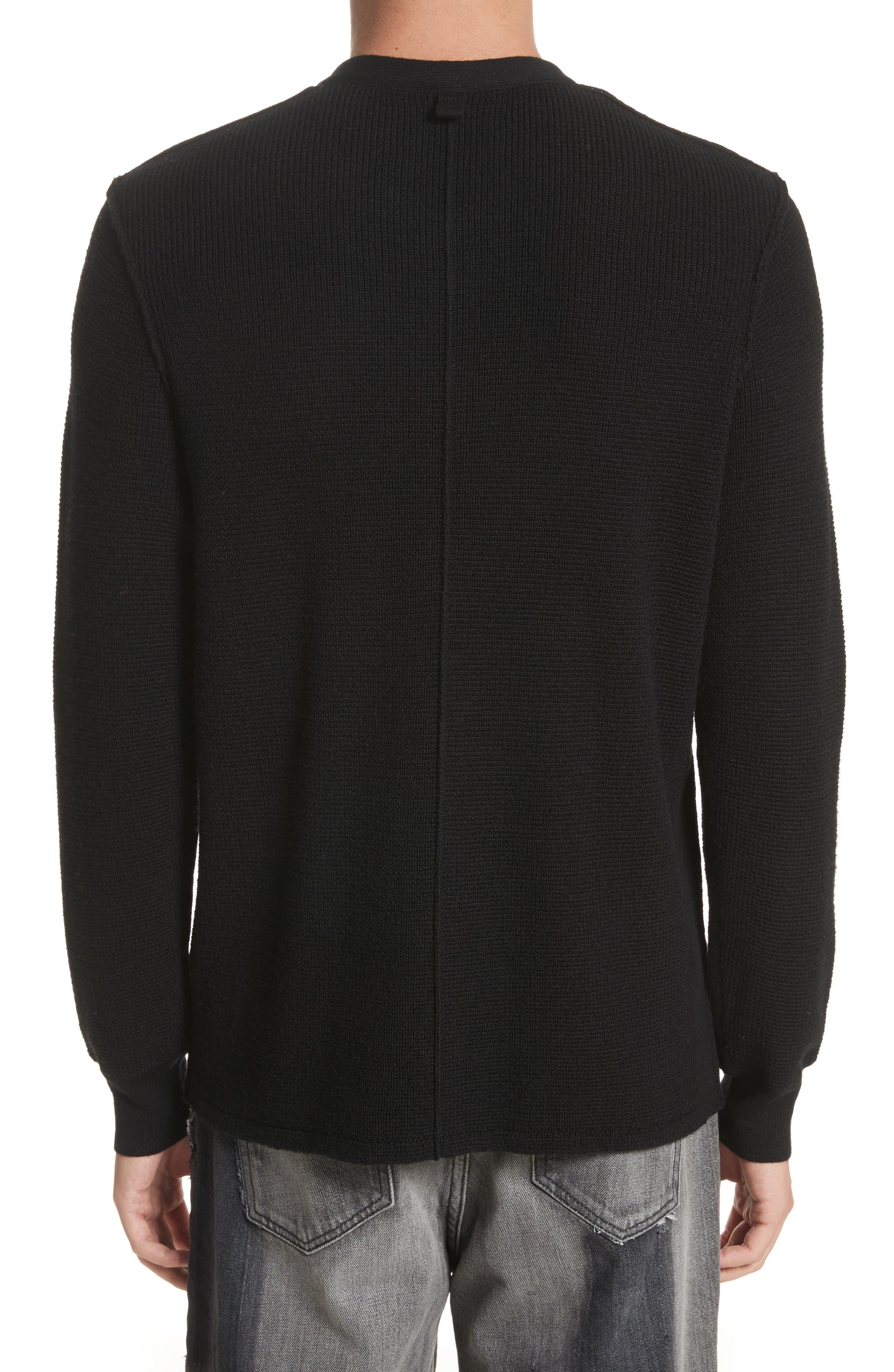 Long Sleeve Wool Henley,                             Alternate thumbnail 2, color,                             Black