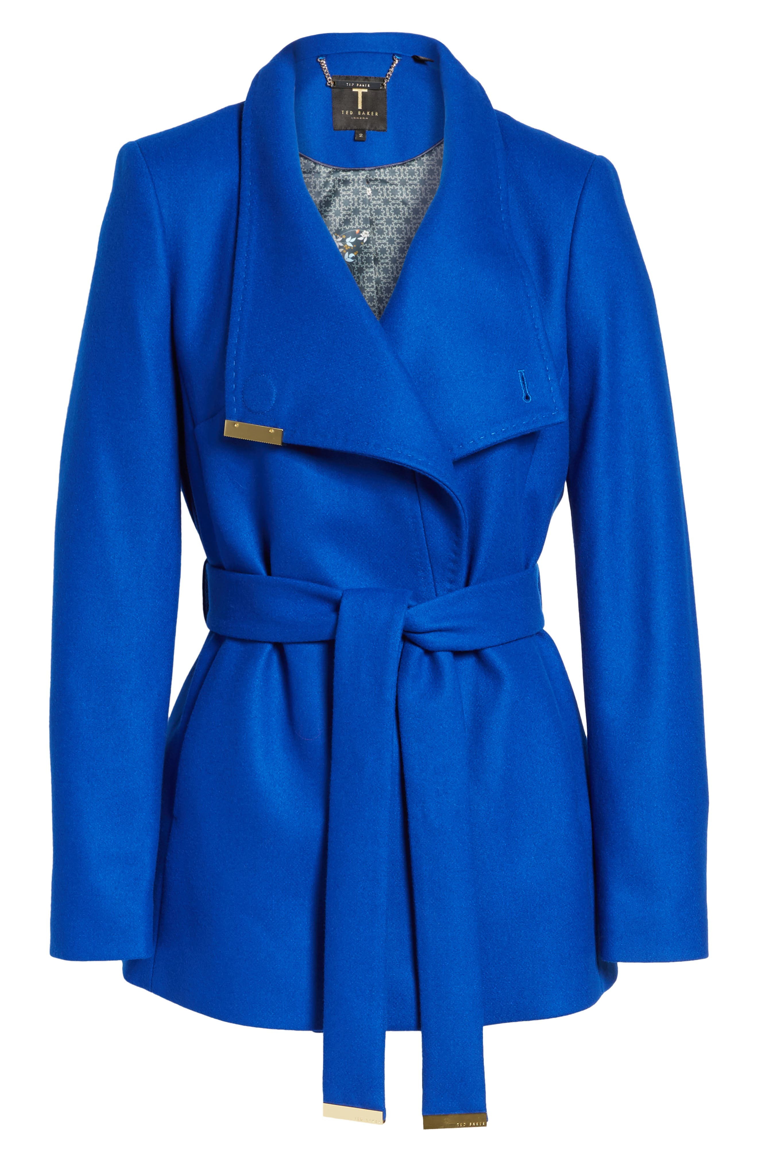 Wool Blend Short Wrap Coat,                             Alternate thumbnail 6, color,                             Bright Blue