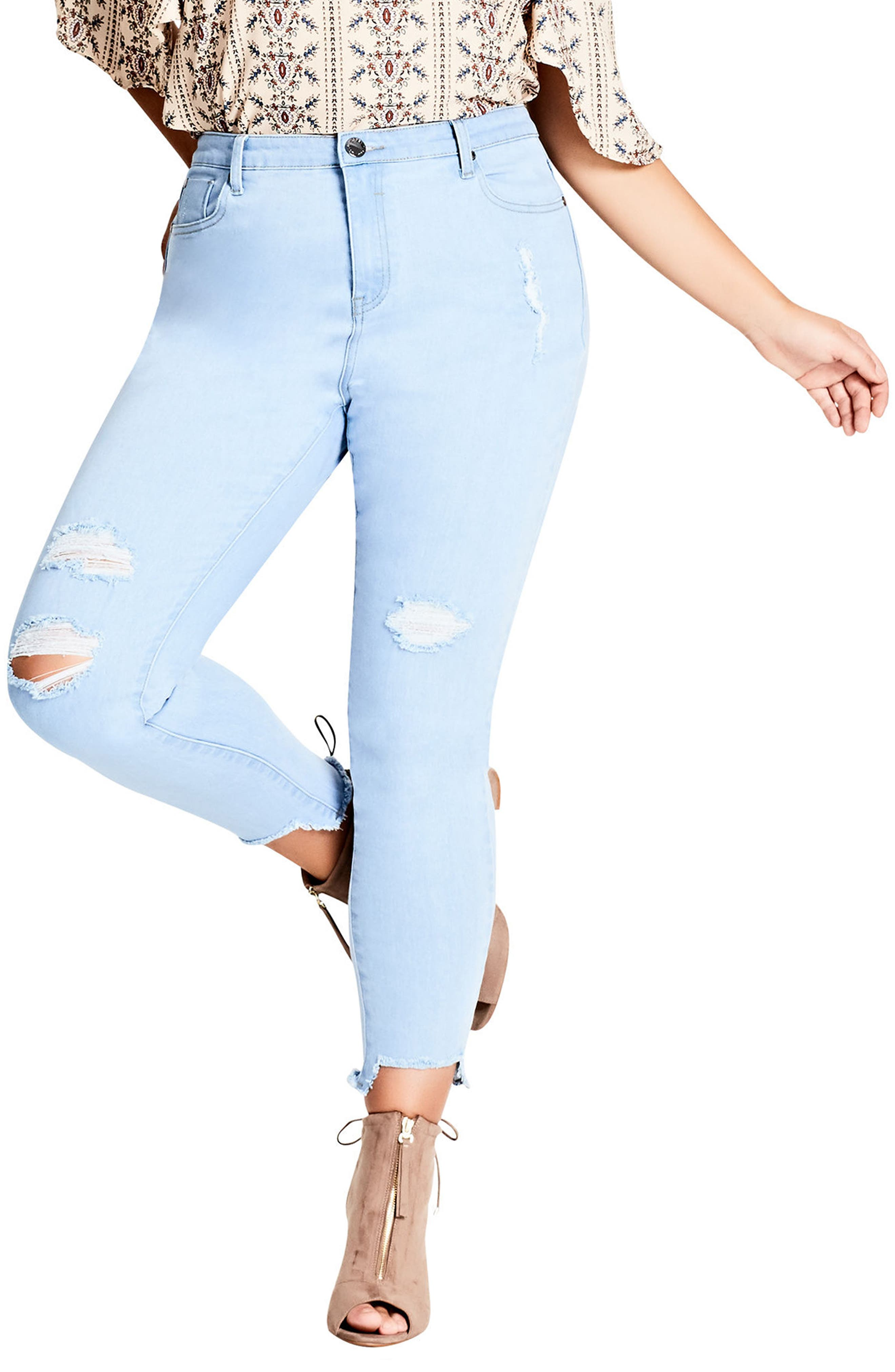Ice Queen Crop Skinny Jeans,                             Main thumbnail 1, color,                             Light Denim
