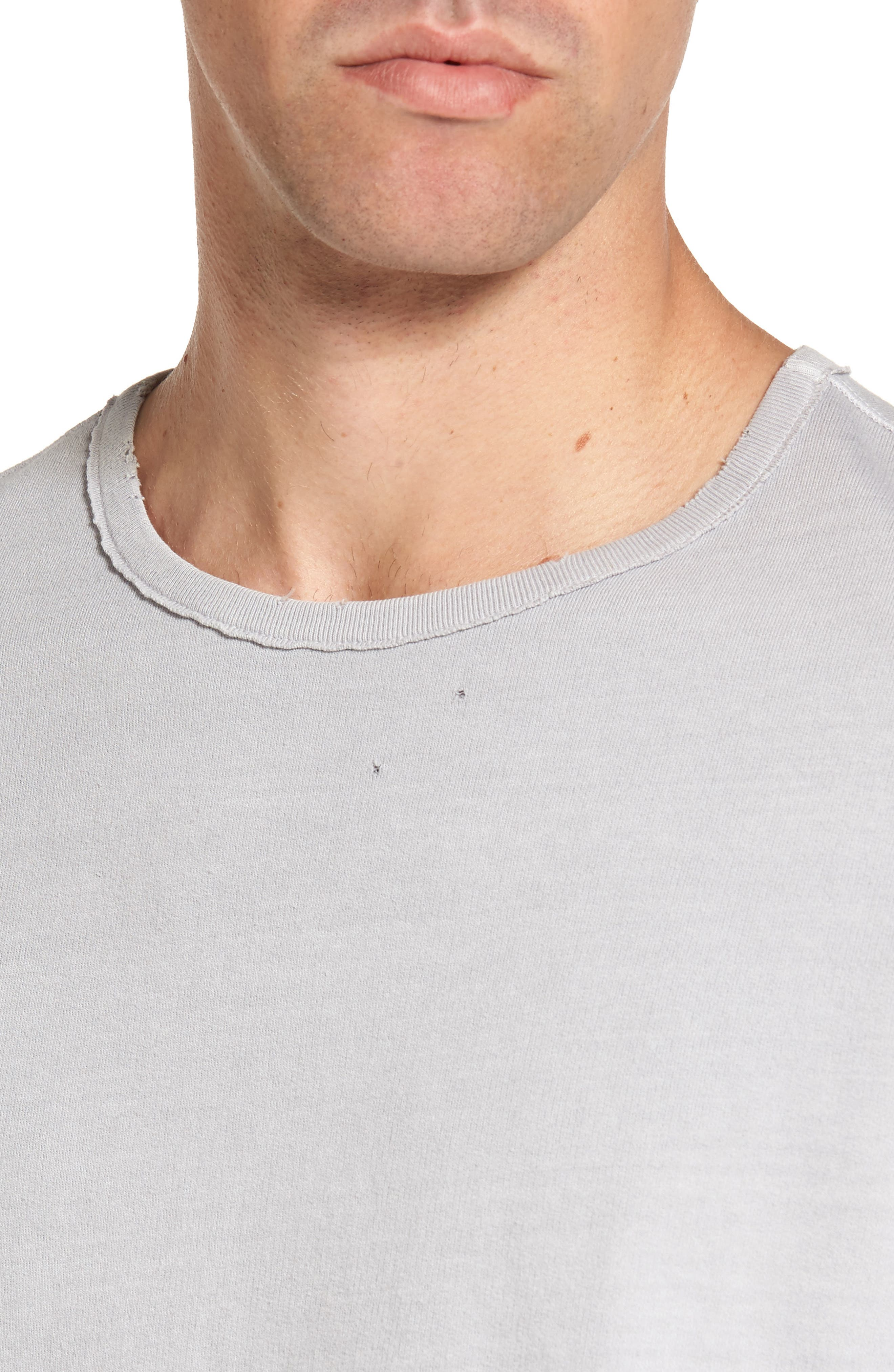Brendan Raw Edge Crewneck Sweatshirt,                             Alternate thumbnail 4, color,                             Pigment Chrome