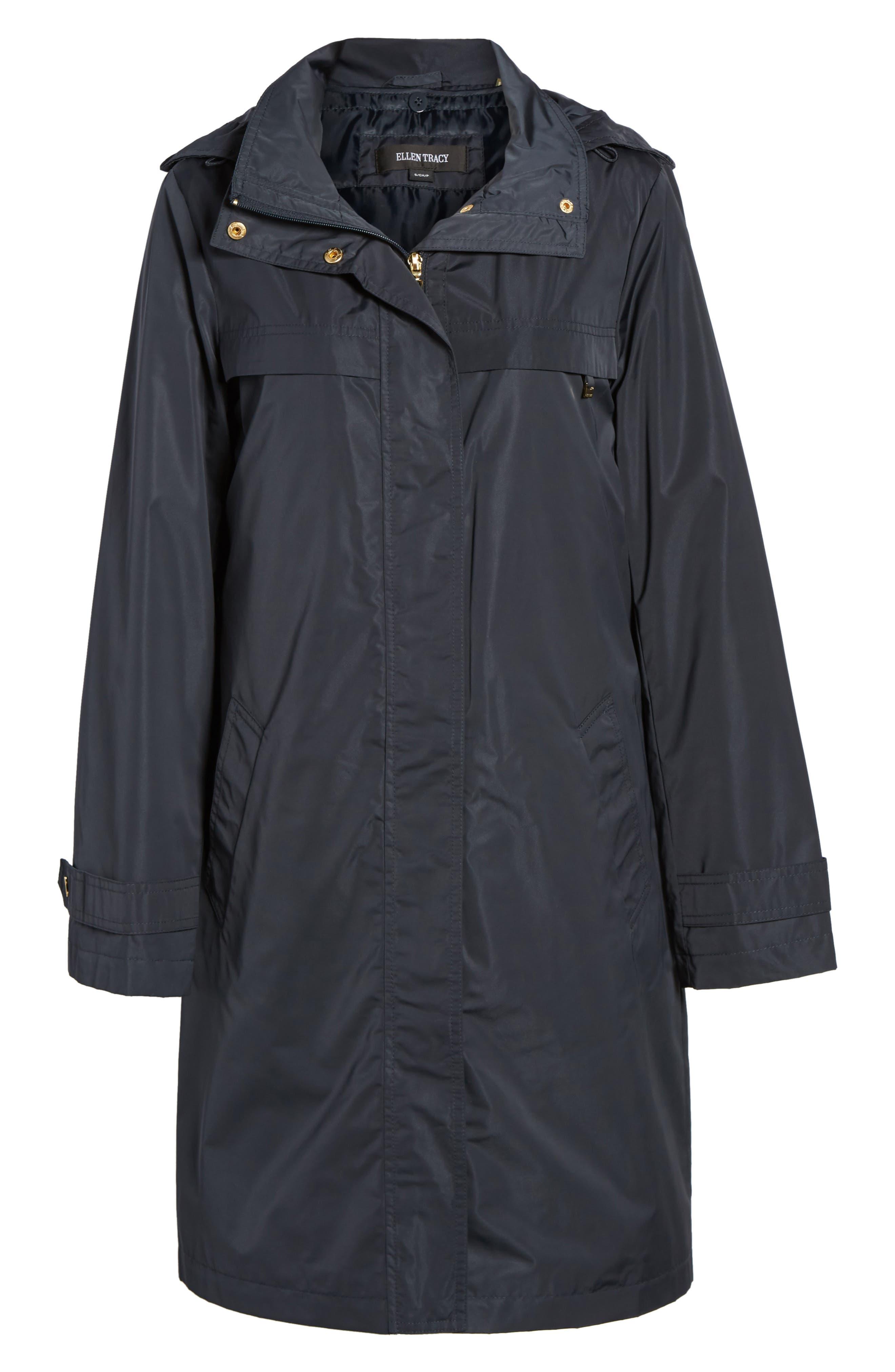 Raincoat with Detachable Hood,                             Alternate thumbnail 6, color,                             Navy