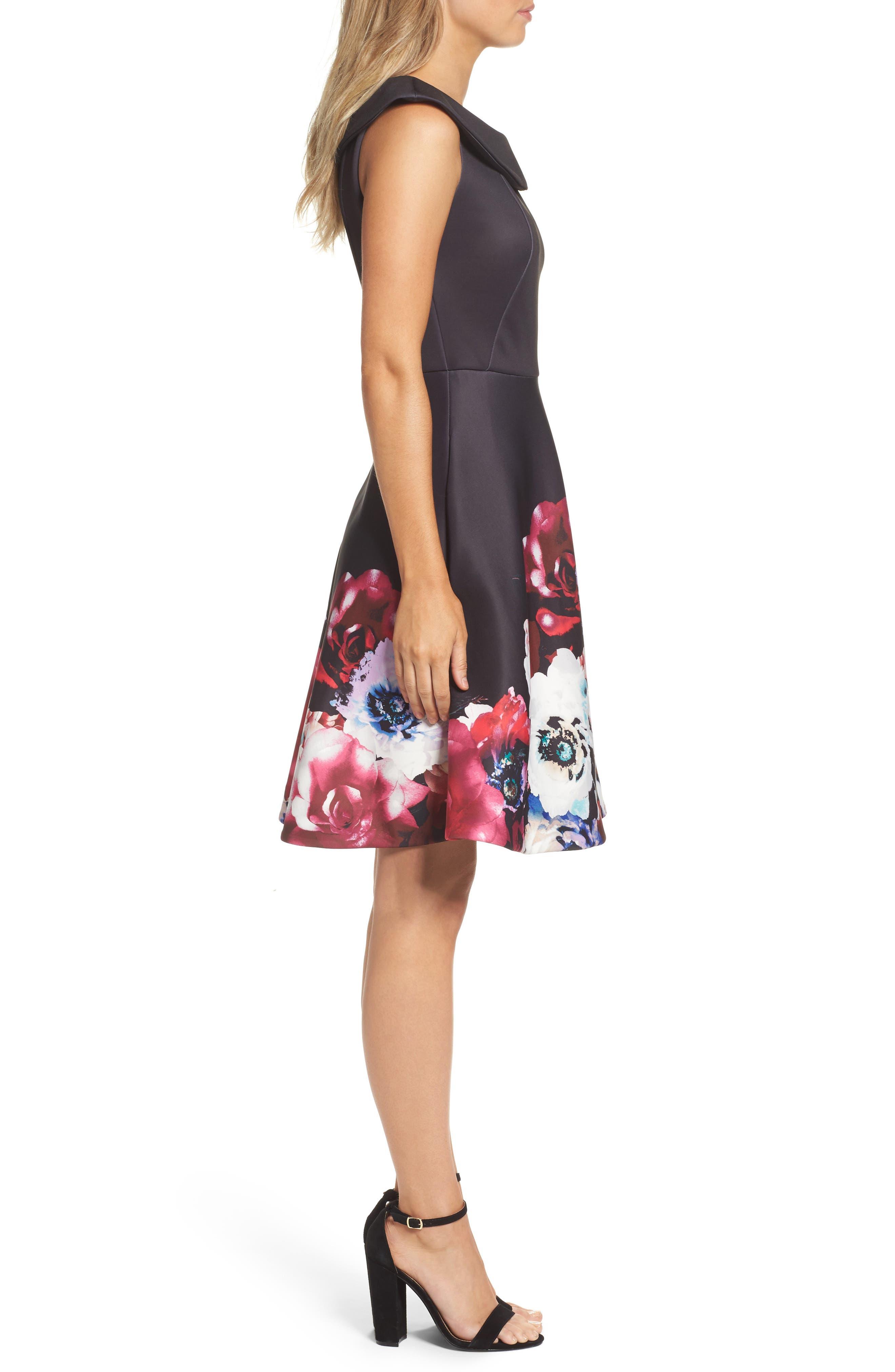 Scuba Knit Fit & Flare Dress,                             Alternate thumbnail 3, color,                             Black Raspberry