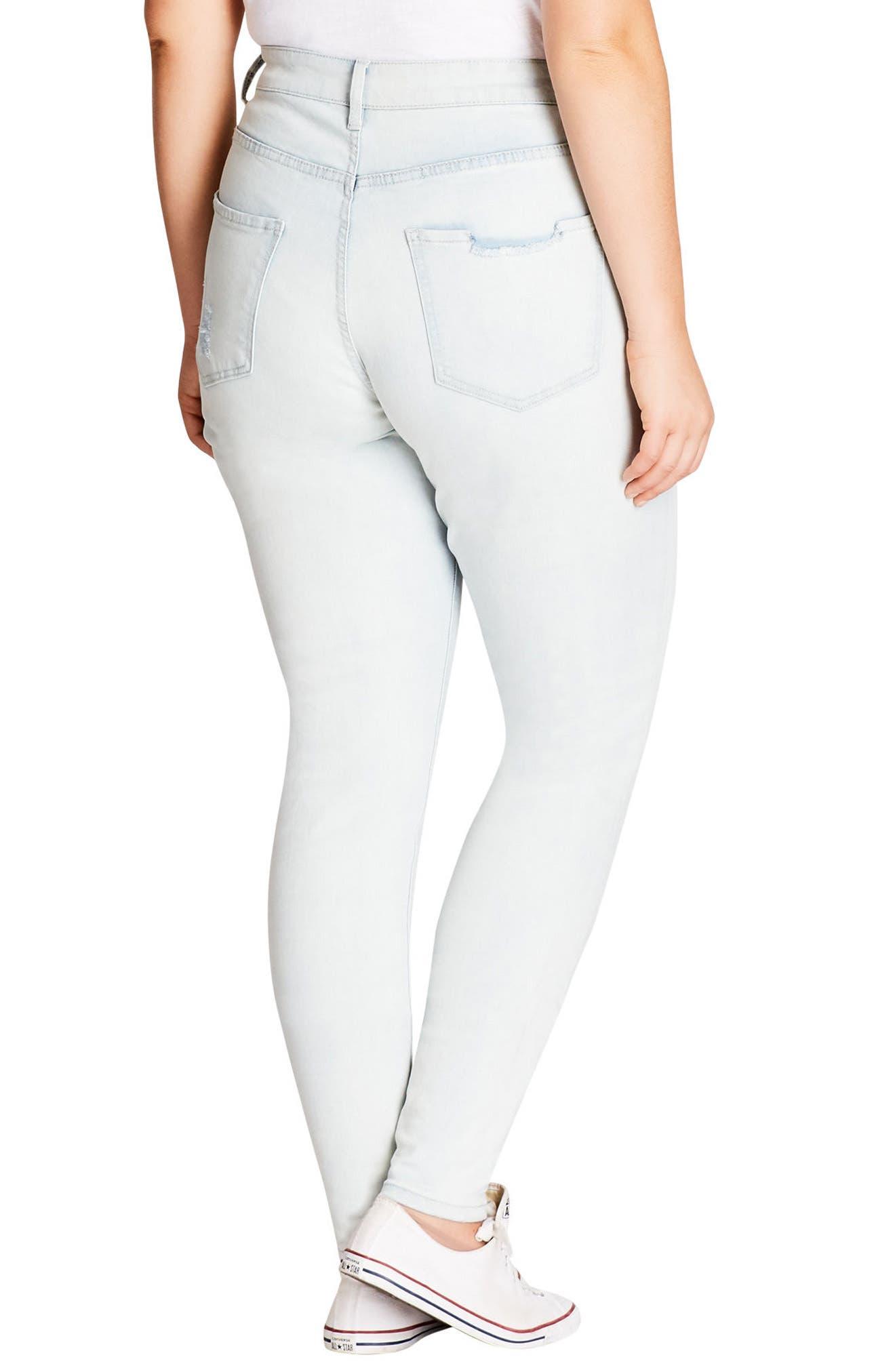 Distressed Skinny Jeans,                             Alternate thumbnail 2, color,                             Light Denim