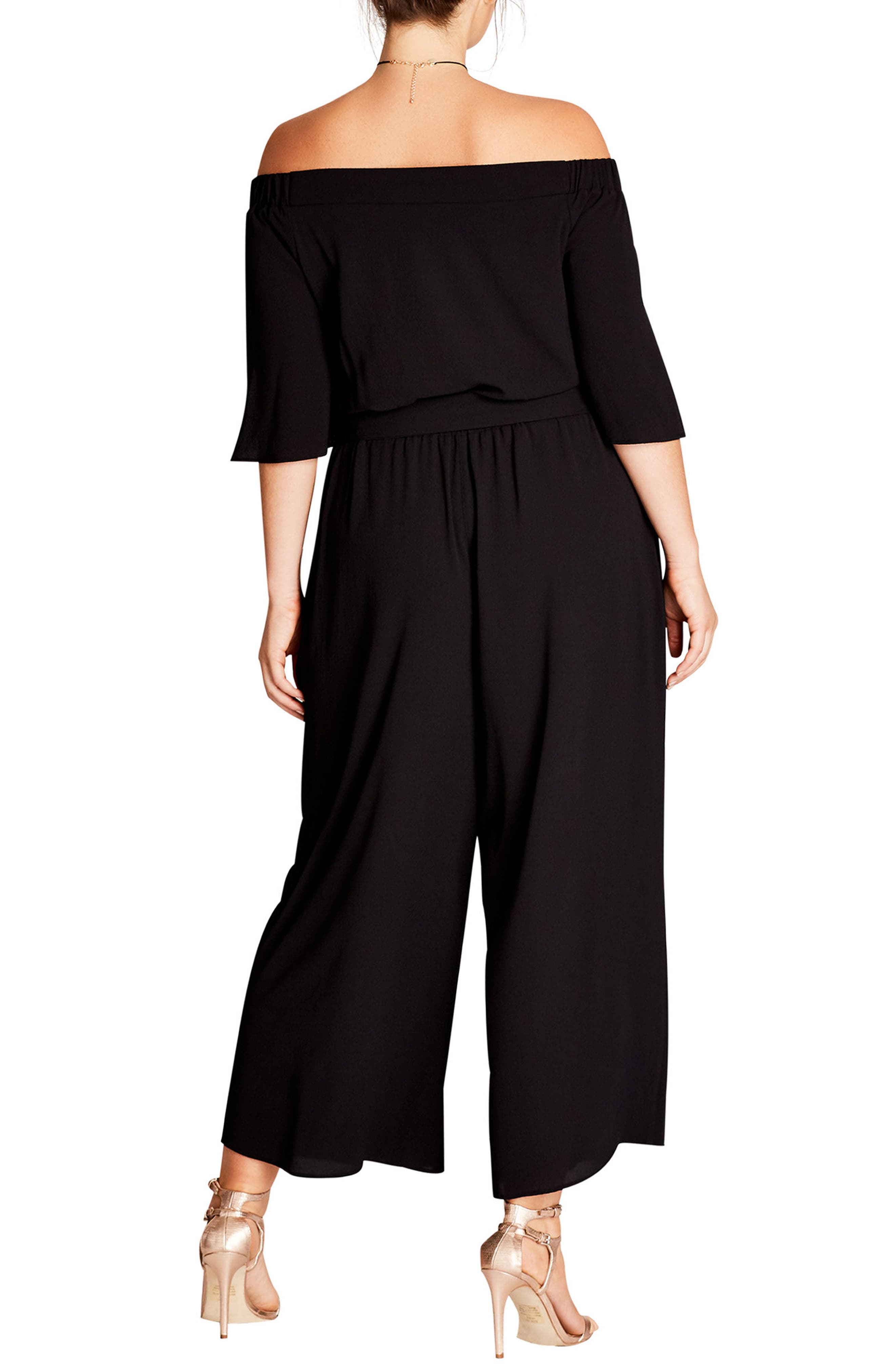 Off the Shoulder Jumpsuit,                             Alternate thumbnail 2, color,                             Black