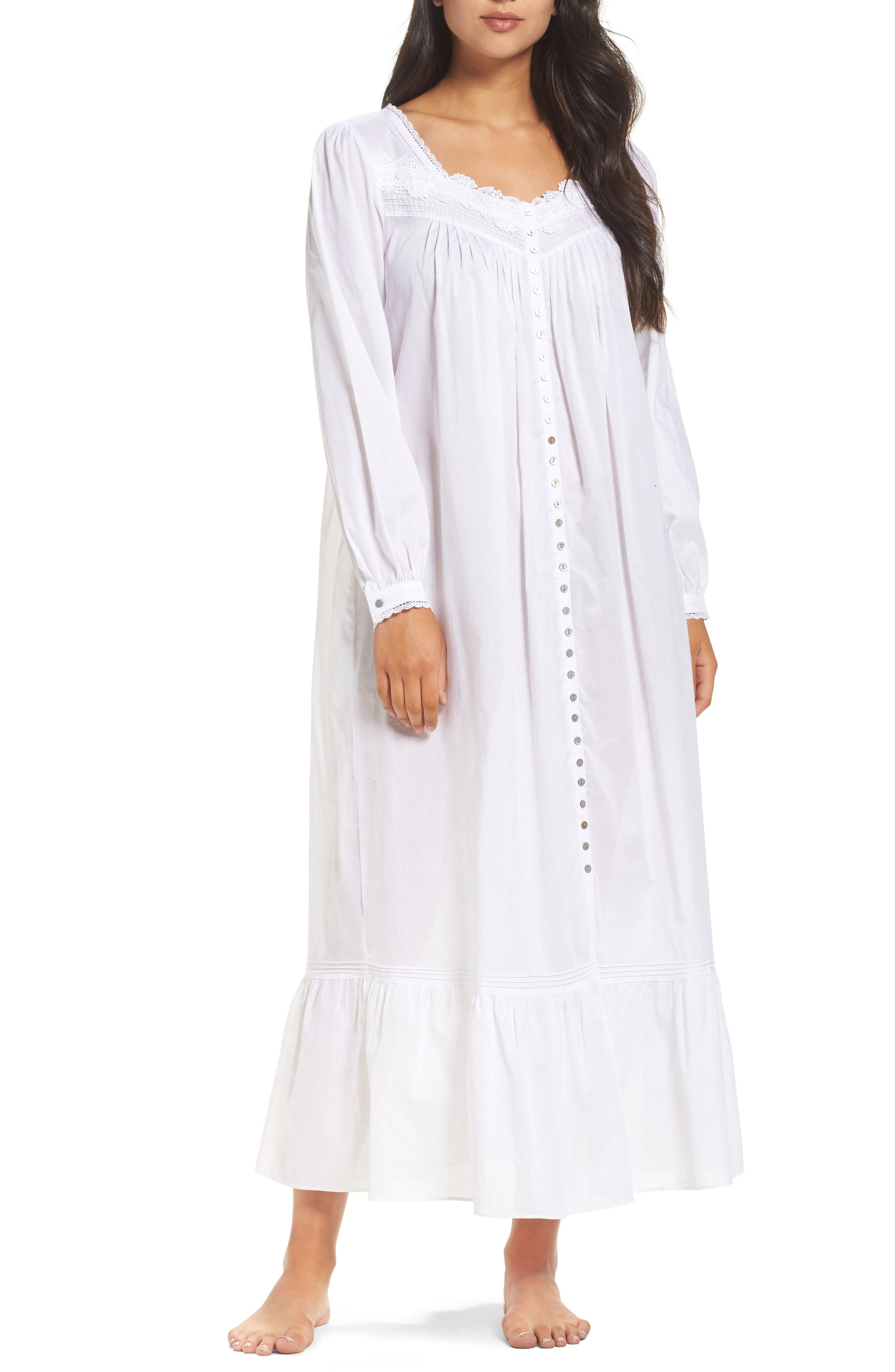Ballet Button Nightgown,                         Main,                         color, White