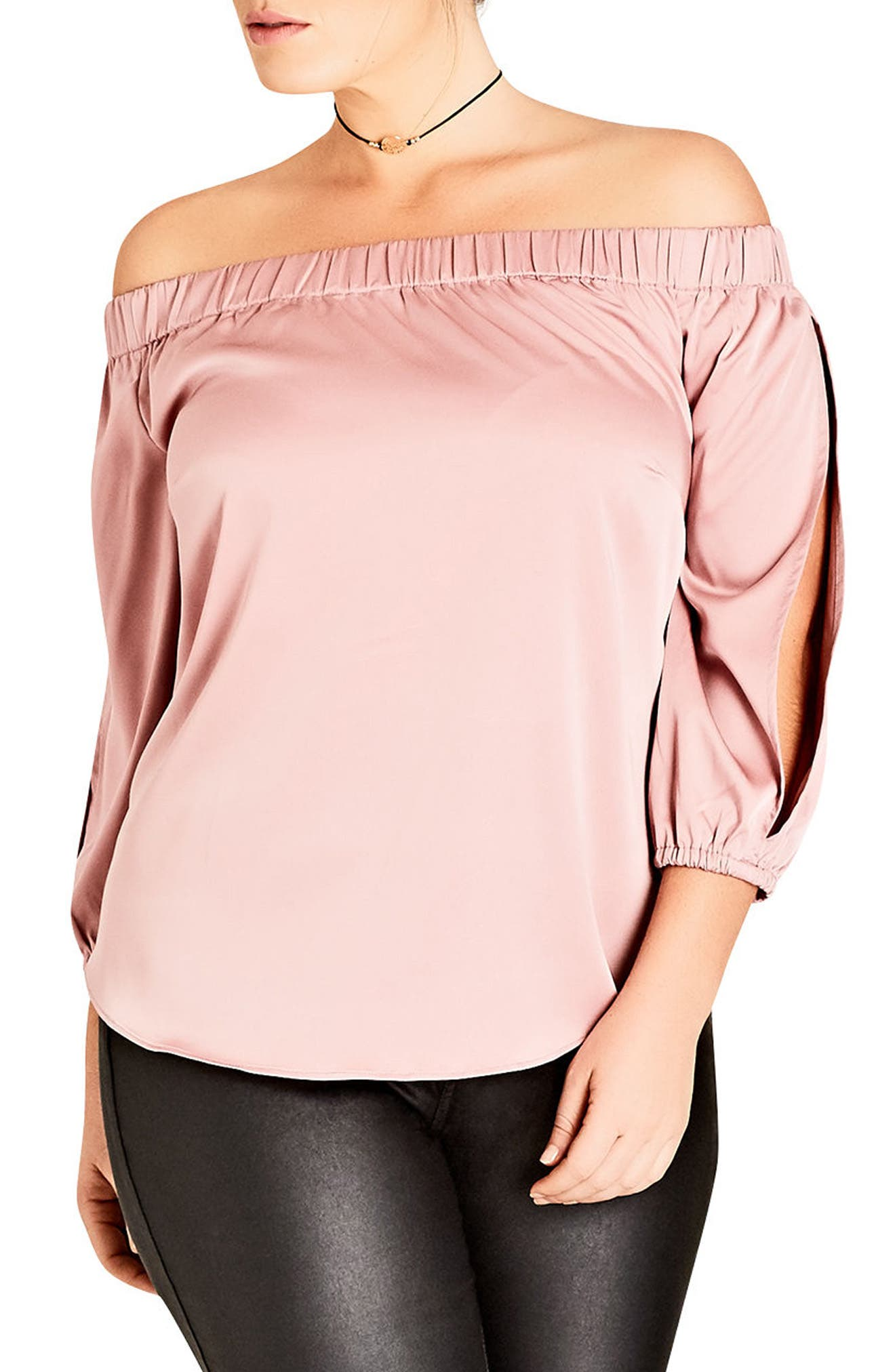 City Chic Off the Shoulder Satin Top (Plus Size)