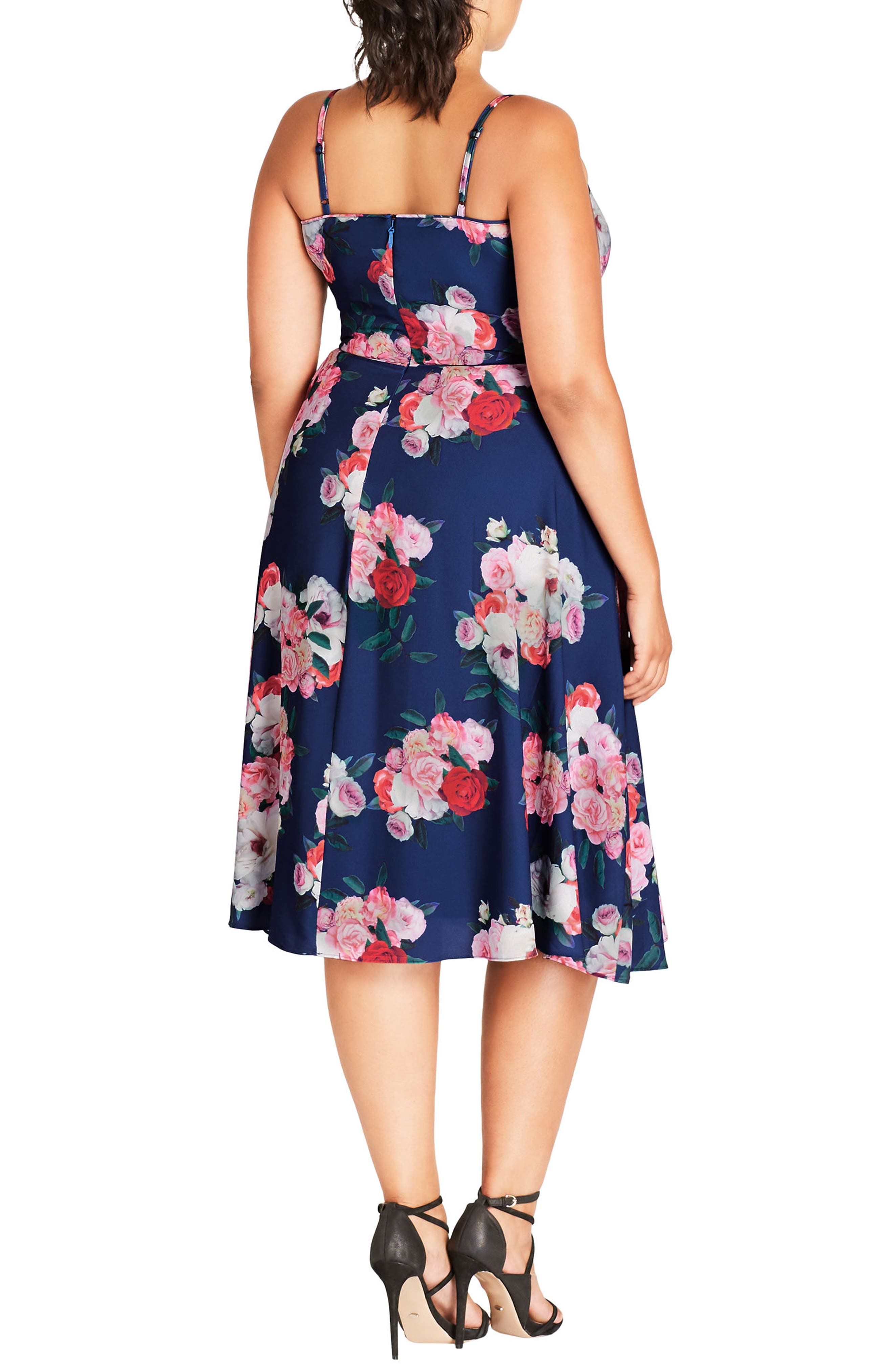 Alternate Image 2  - City Chic Summer Fling Floral Print Midi Dress (Plus Size)