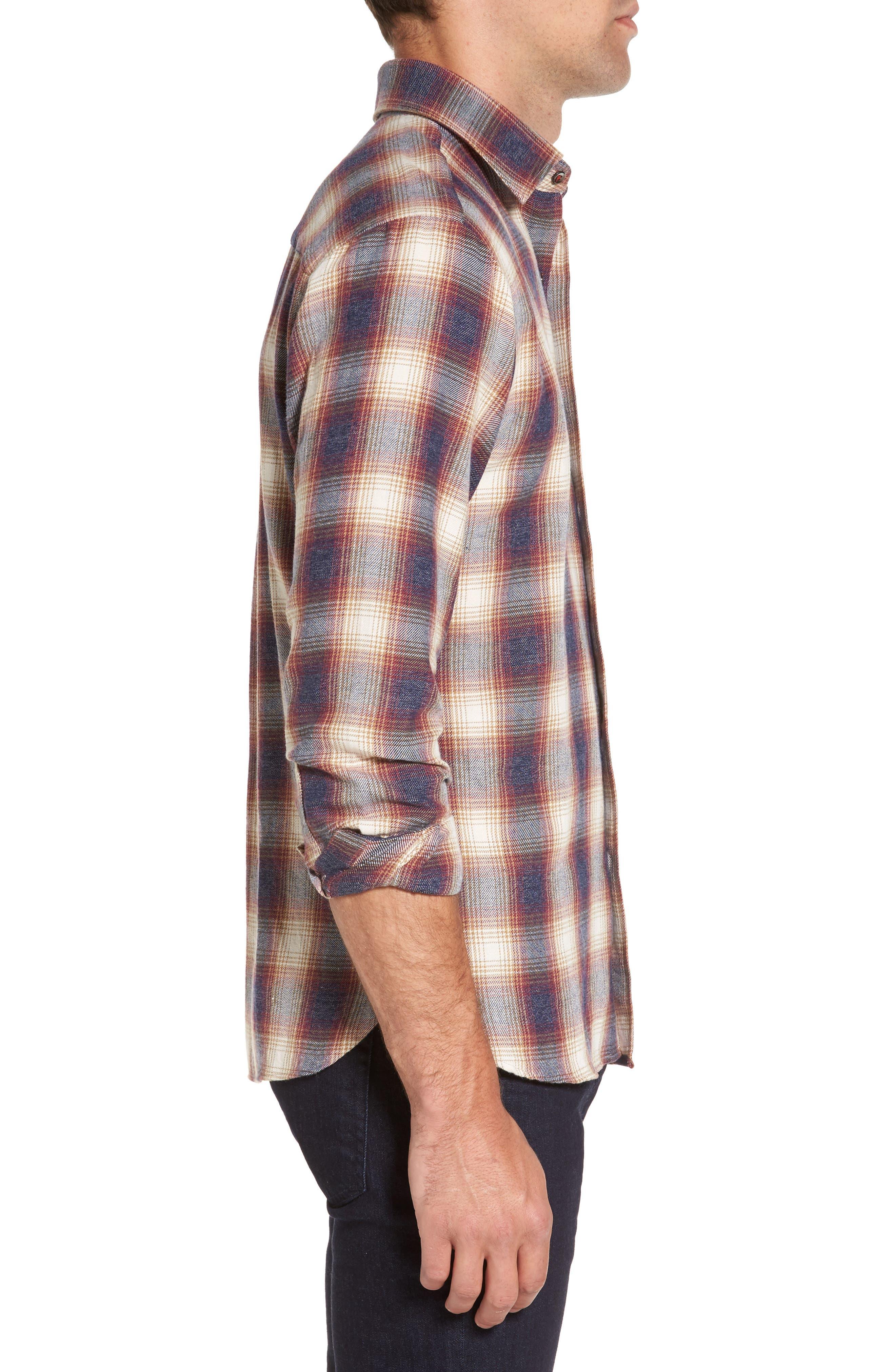 Slim Fit Plaid Sport Shirt,                             Alternate thumbnail 3, color,                             Burgundy