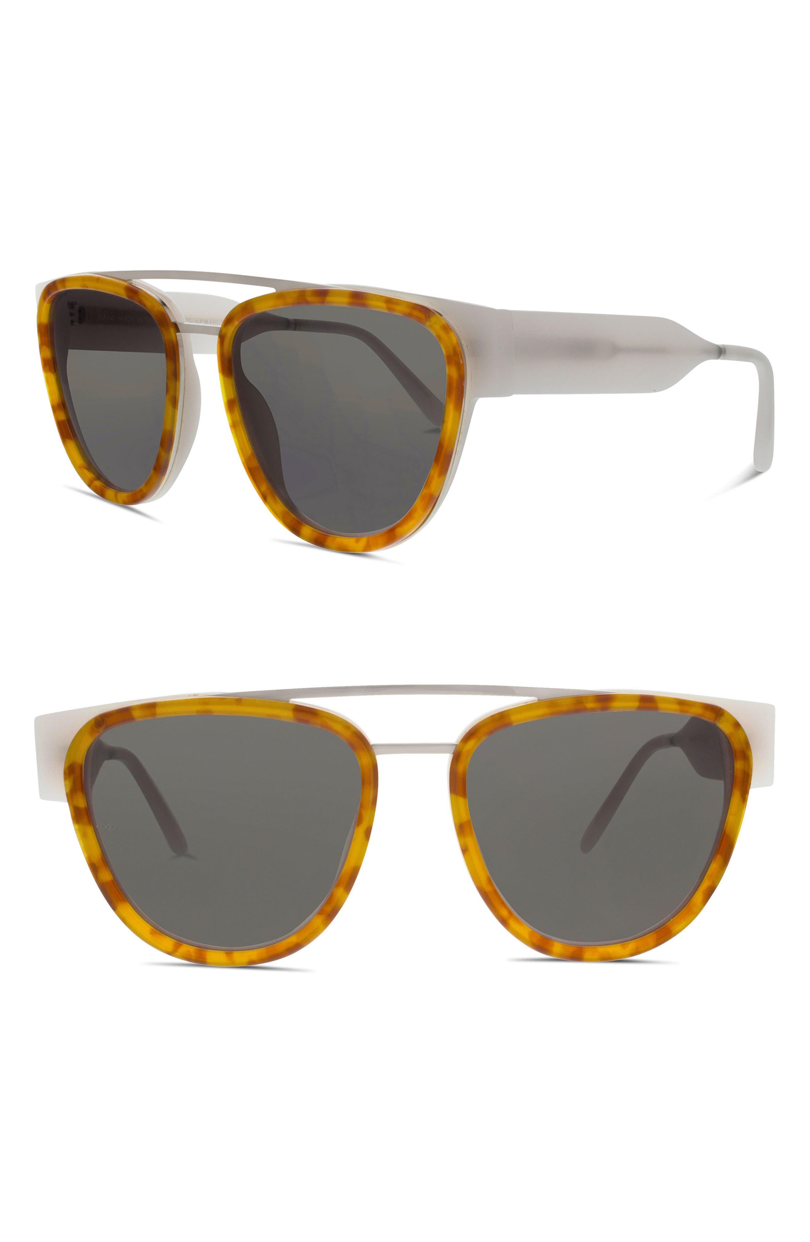 Soda Pop II 53mm Square Sunglasses,                         Main,                         color, Ivory/ Ginger Tortoise/ Silver