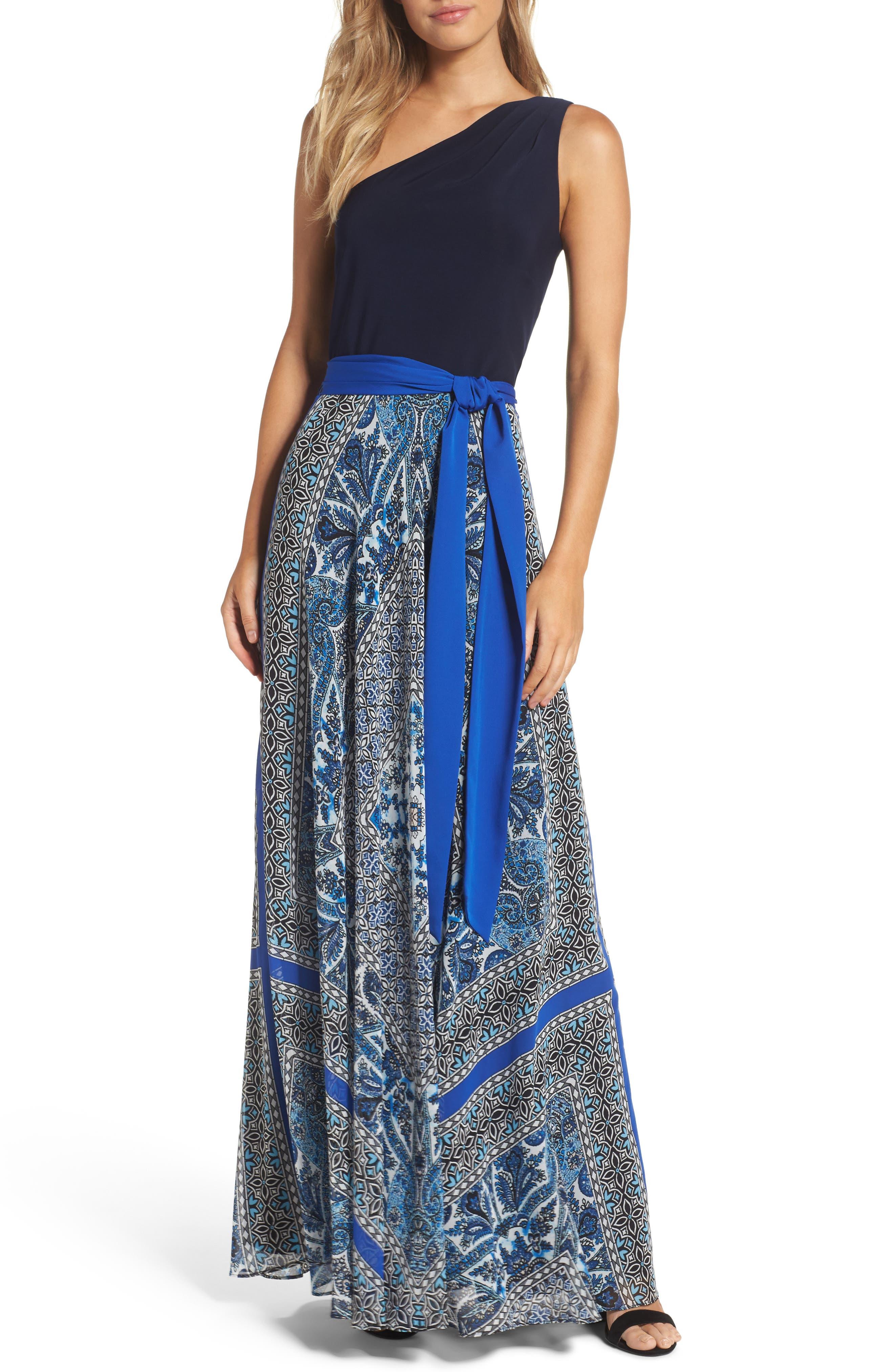 Eliza J One-Shoulder Jersey Maxi Dress (Regular & Petite)
