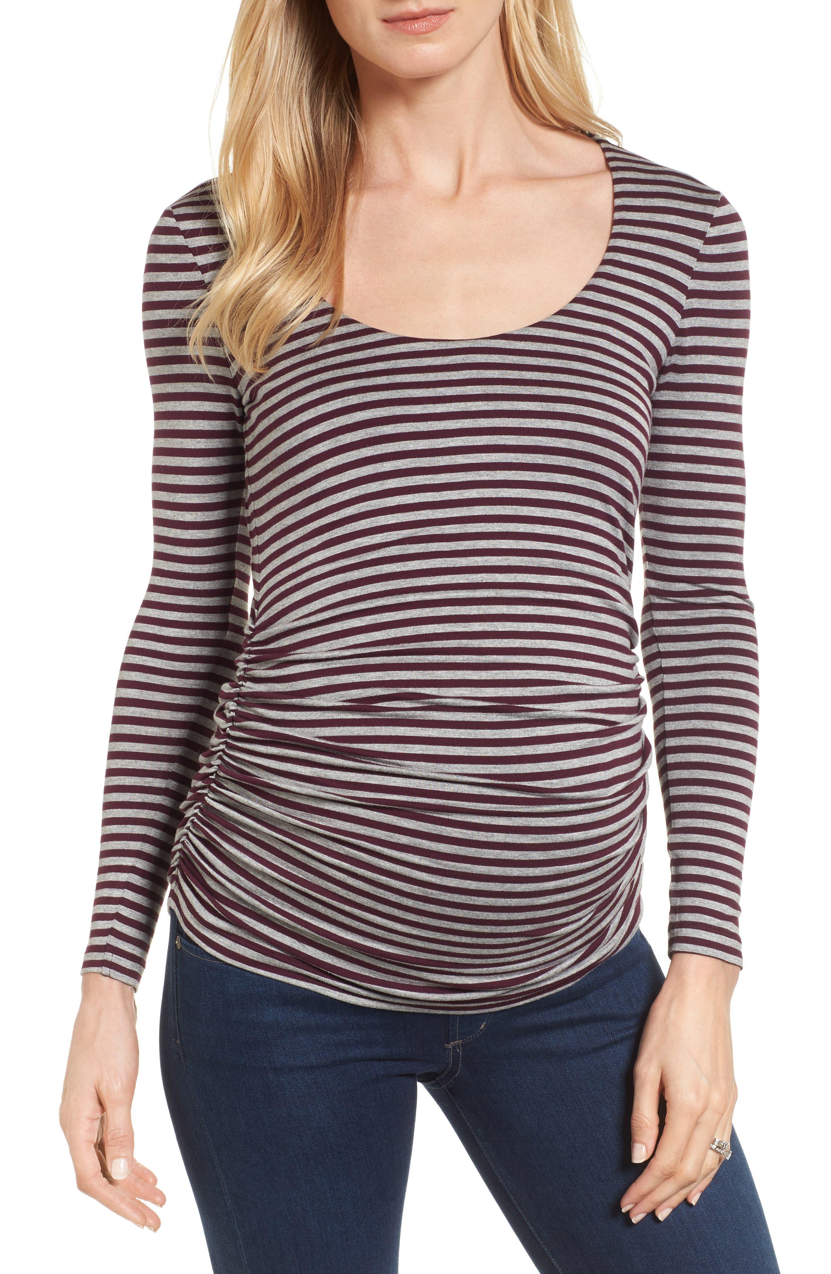 Arlington Stripe Maternity Tee,                         Main,                         color, Heather Grey