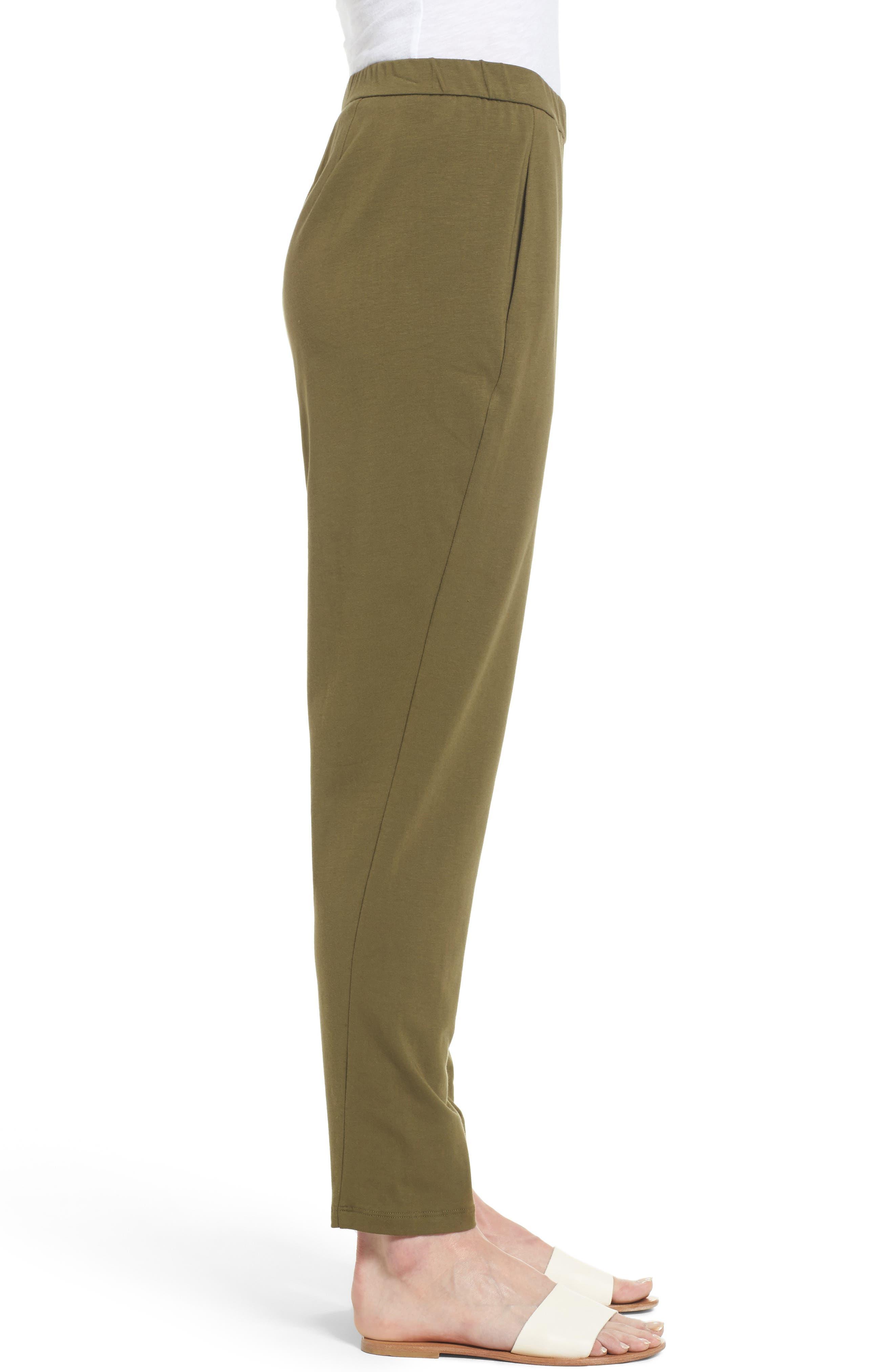 Alternate Image 3  - Eileen Fisher Stretch Organic Cotton Slim Slouchy Ankle Pants (Regular & Petite)
