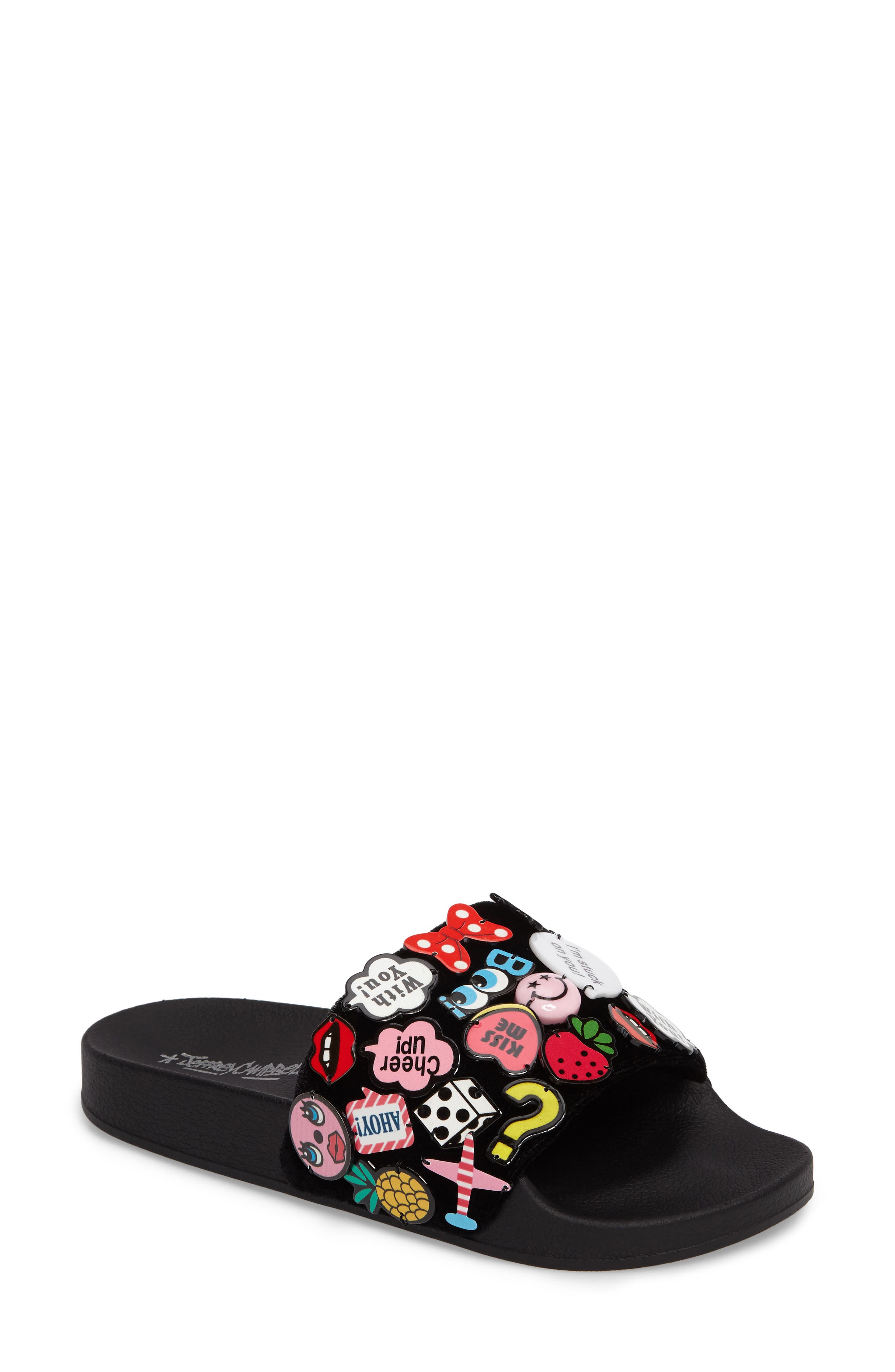 Jeffrey Campbell Jova Button Embellished Slide Sandal (Women)